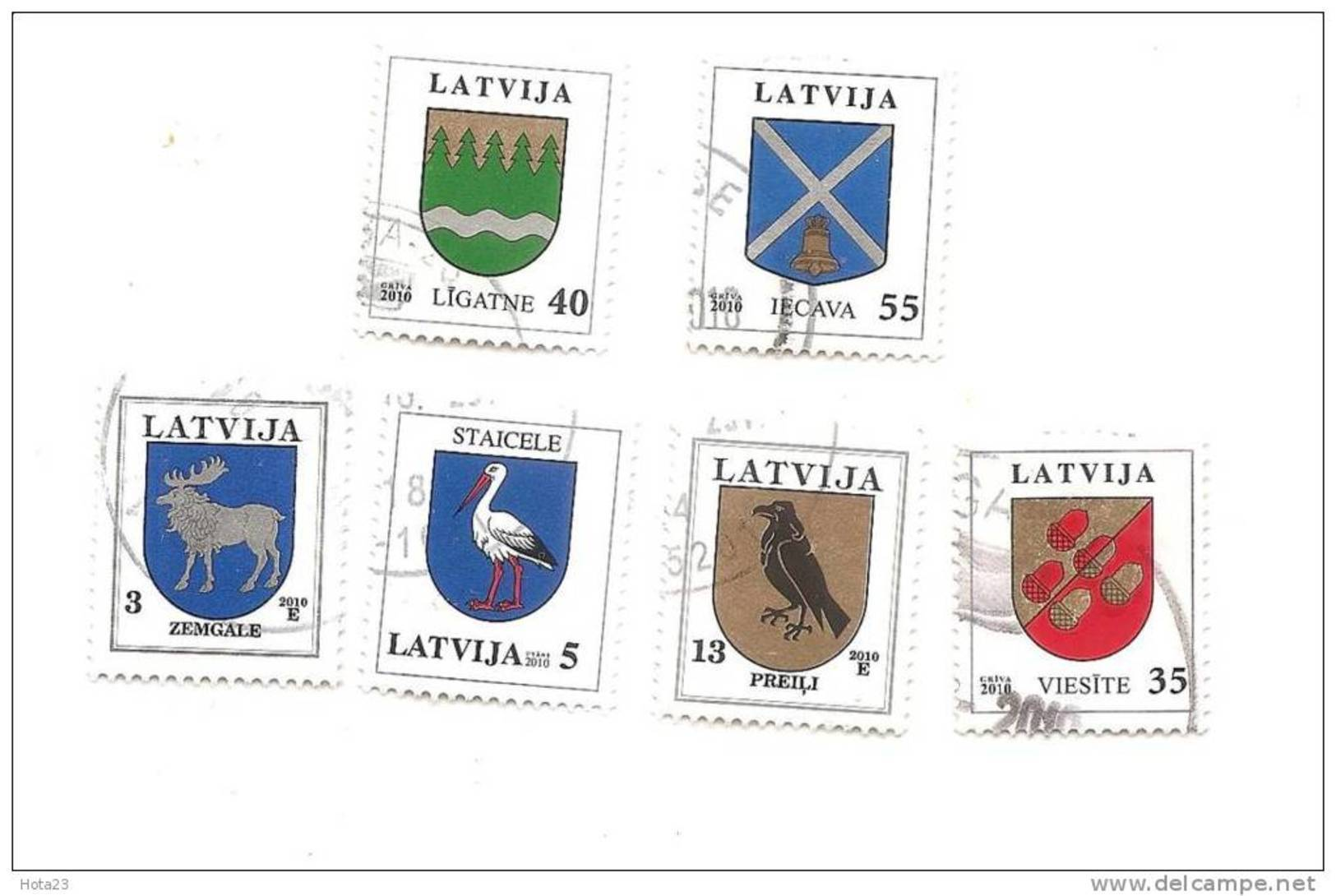 Lettland - Bird Jackdaw ,Stork, Tier Elk 2010 Year  FULL YEAR SET USED (0) - Latvia