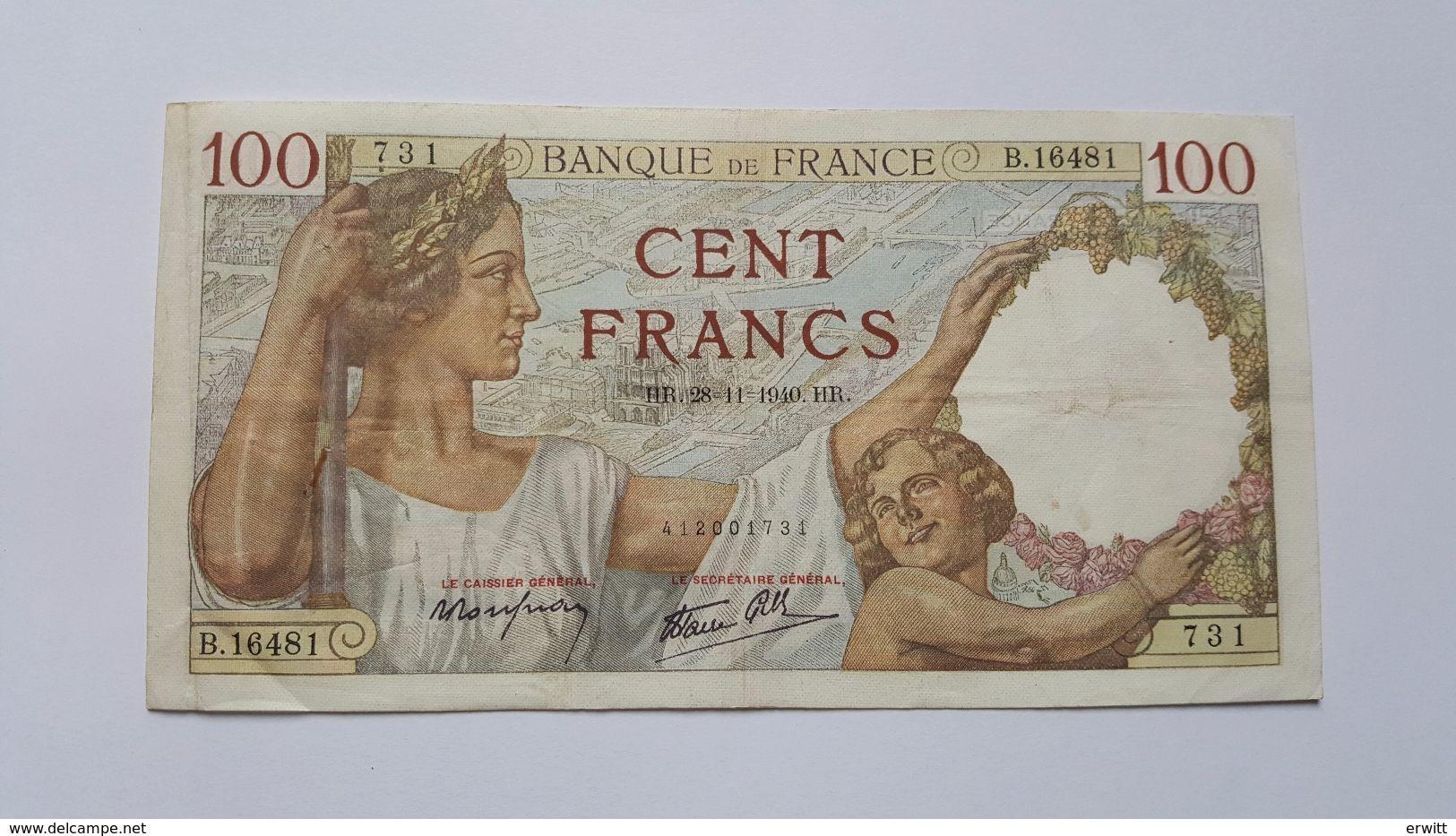 FRANCIA 100 FRANCHI 1940 - 1871-1952 Anciens Francs Circulés Au XXème