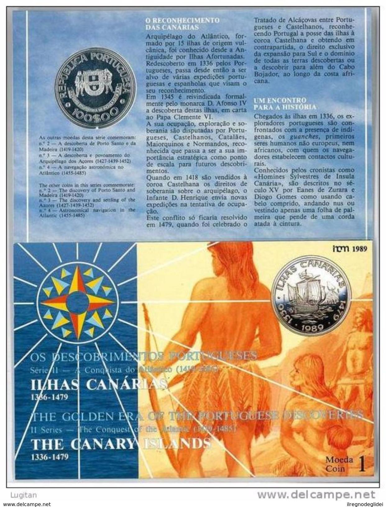 NUMISMATICA - AZZORRE - AZORES - ANNO 1989 FDC - ARGENTO - 100 ESCUDOS - CONQUISTA DELL'ATLANTICO - Azores