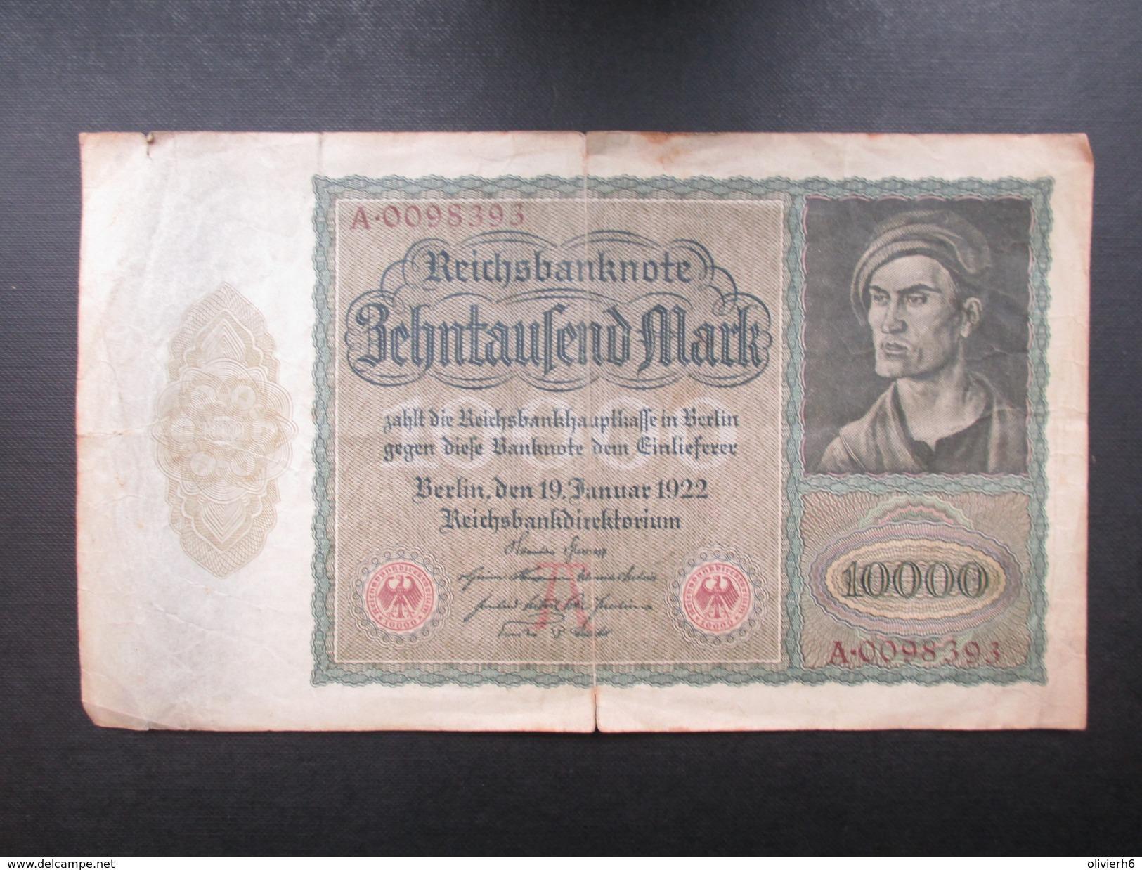 BILLET REICHSBANKNOTE (V1719) 10000 ZEHNTAUSEND MARK (2 Vues) BERLIN 19/01/1922 - 10000 Mark