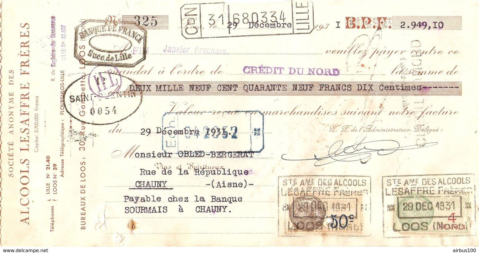 TRAITE 1931 SA. DES ALCOOLS LESAFFRE FRERES RUE GAMBETTA LOOS NORD - Levensmiddelen