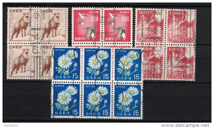 Japan, 3x Blocks Of 4 + Block Of 6 (o), Used - Collections, Lots & Séries