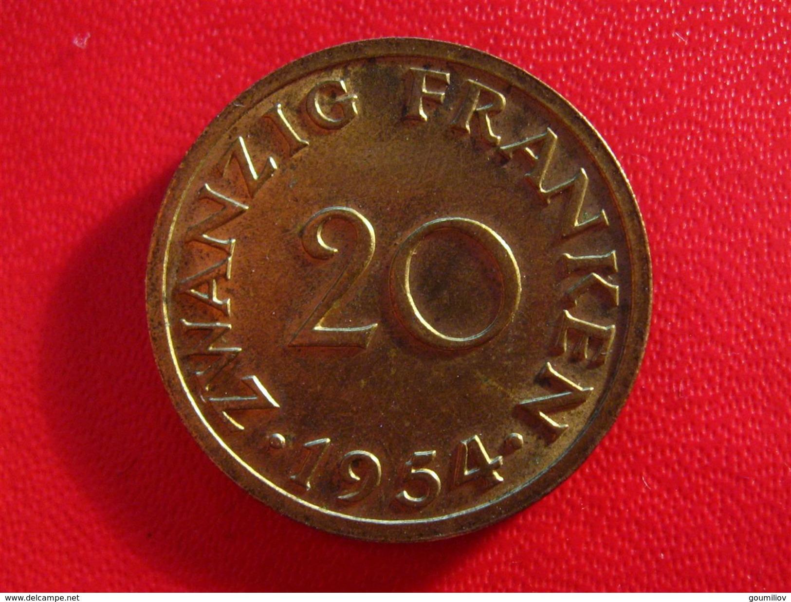 Saarland - 20 Francs Franken 1954 5592 - Saar