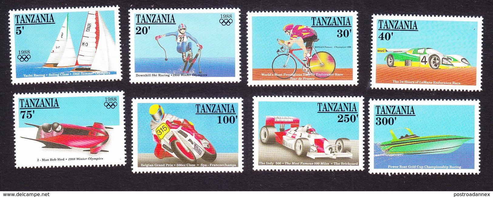 Tanzania, Scott #638-645, Mint Hinged, Sports, Issued 1990 - Tanzania (1964-...)