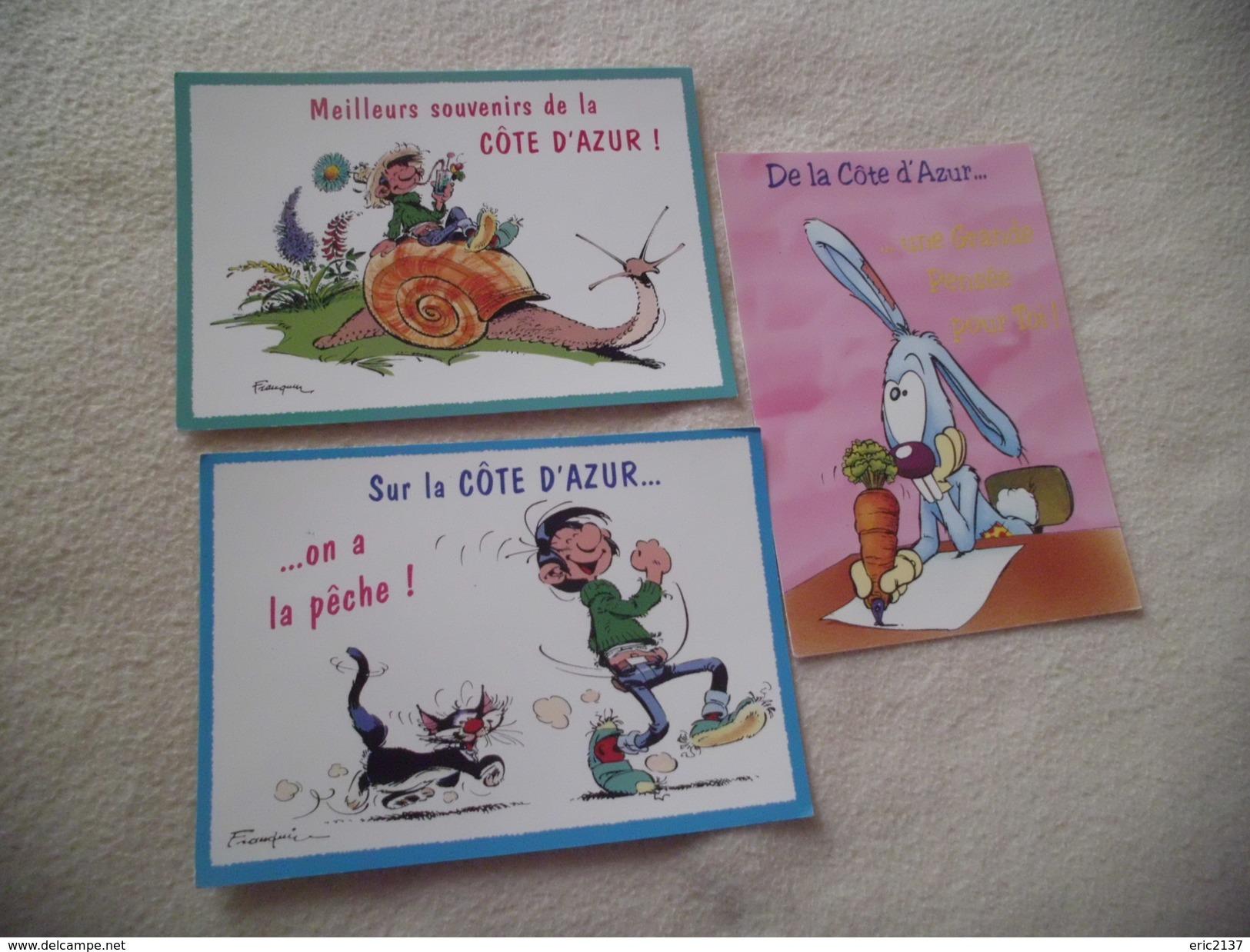LOT DE 3 CARTES ILLUSTRATIONS HUMORISTIQUES ...LA COTE D'AZUR....STANLEY ..SIGNE DAN SALEL(1) Et LAGAFFE DE FRANQUIN(2) - Humour