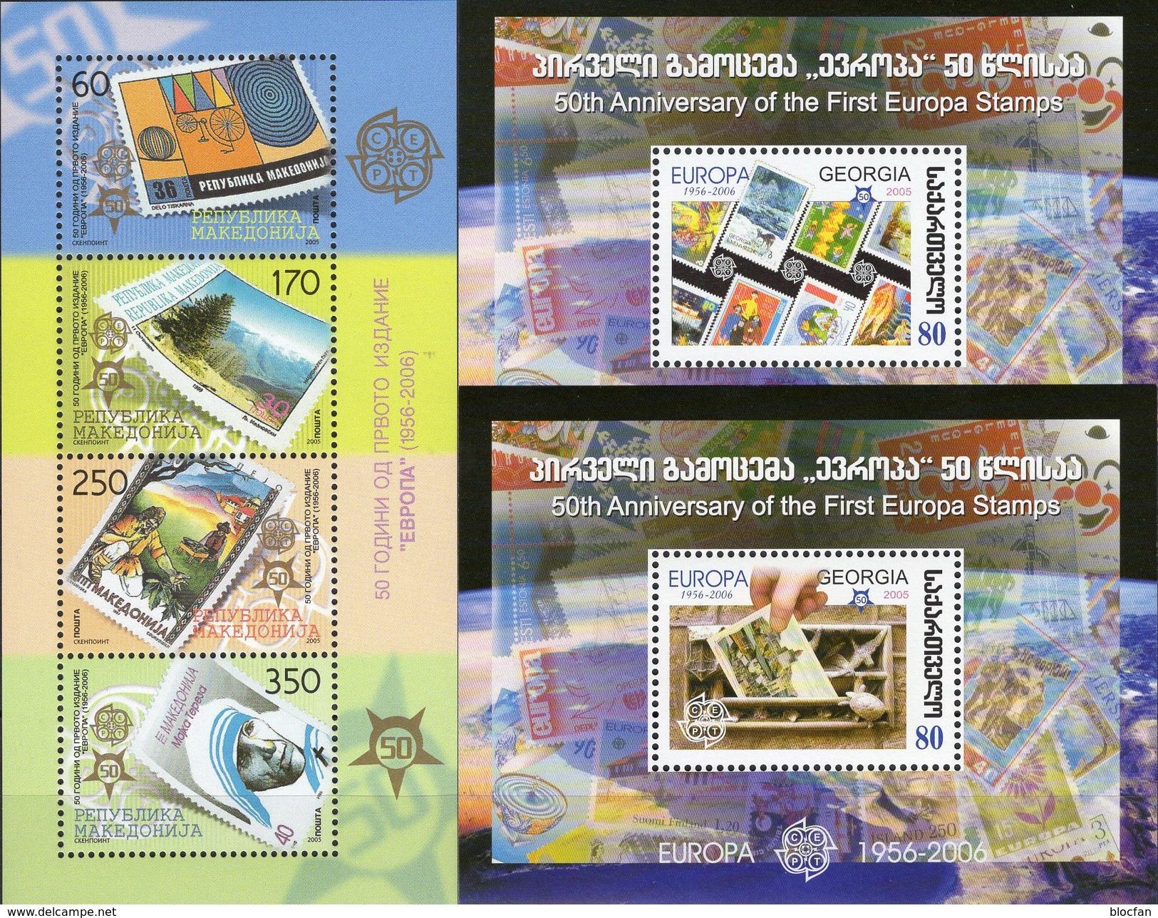 2006 Makedonia 370/3,Block 13, GEORGIE Blocks 35+36 ** 72€ Sonnenturm/Ansichtskarte Hb S/s Blocs Sheets CEPT/EUROPA - Géorgie