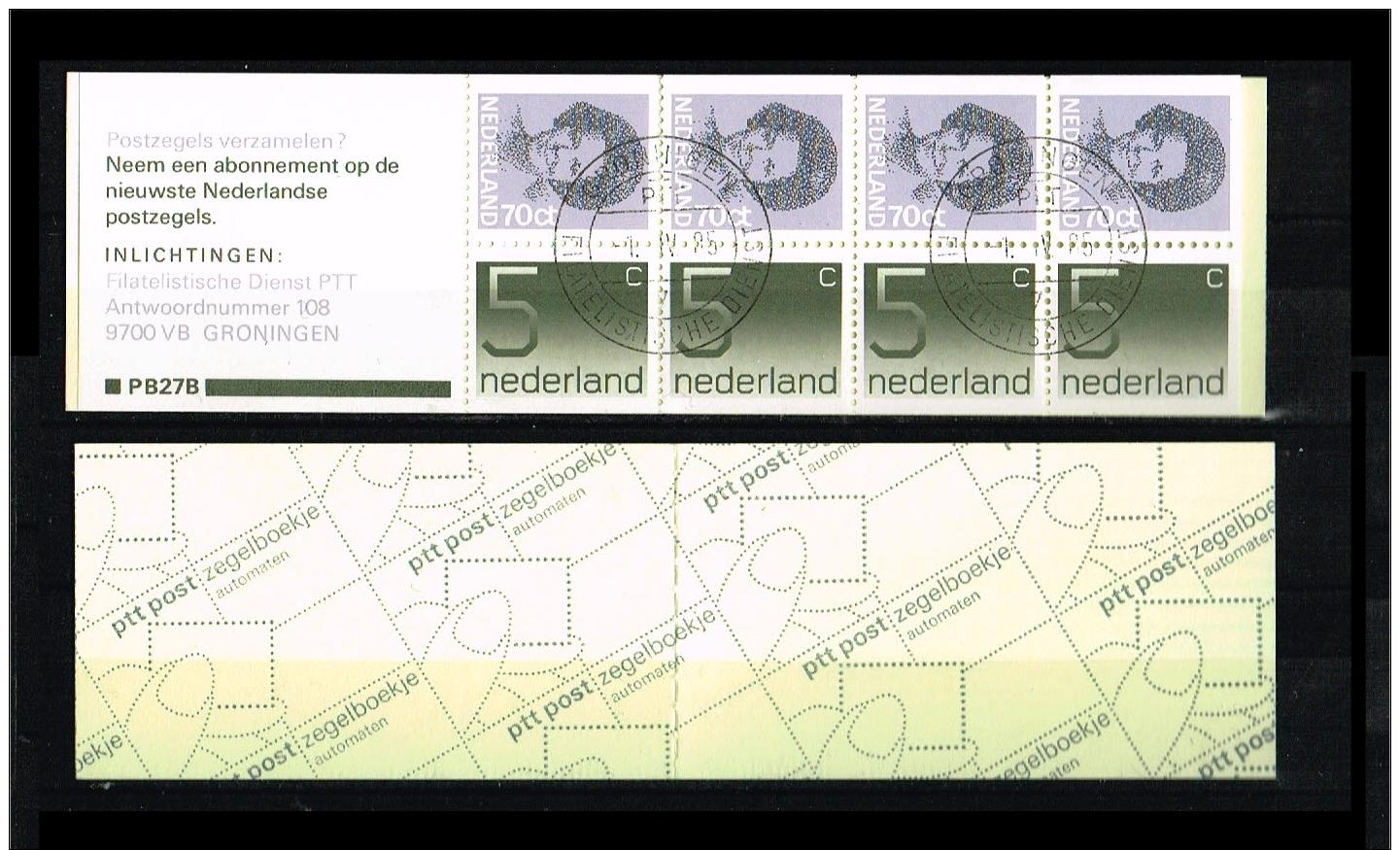 1985 - Netherlands NVPH PB27b Used - Stampbooklet PB27b: 4x70 +4x5 [A56_101] - Postzegelboekjes En Roltandingzegels