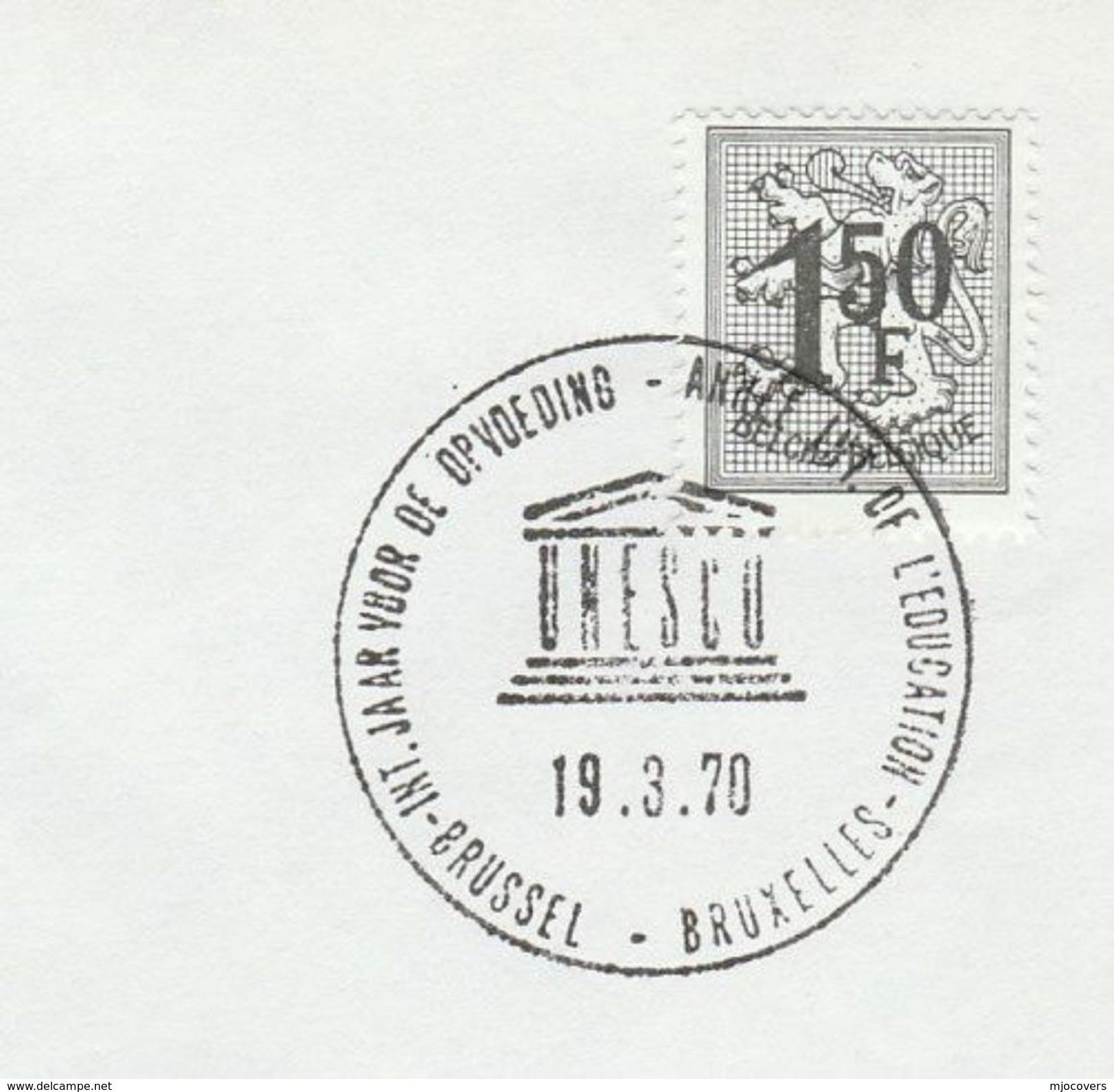 1970 BELGIUM UNESCO EVENT COVER International EDUCATION YEAR Un United Nations Stamps - UNESCO