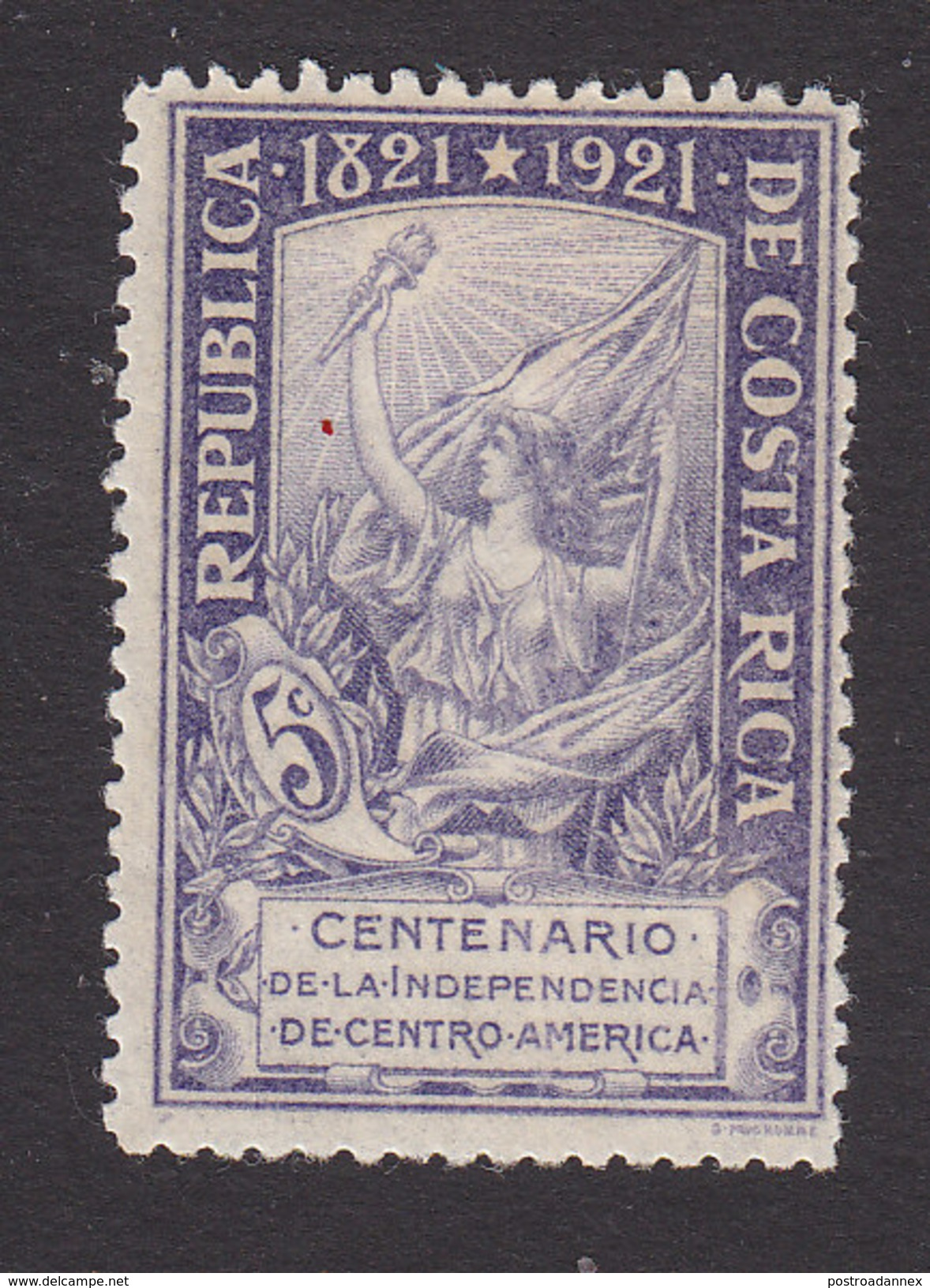 Costa Rica, Scott #104, Mint Hinged, Liberty With Torch Of Freedom, Issued 1921 - Costa Rica