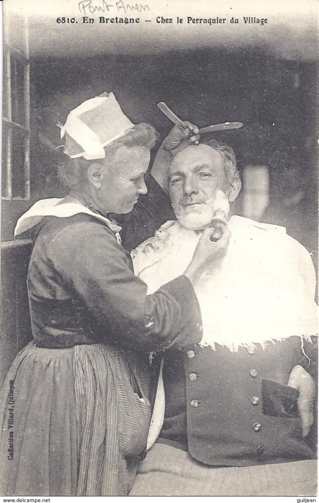 En Bretagne - 6810 - Chez Le Perruquier Du Village - PONT-AVEN -  écrite En 1917 - Bretagne
