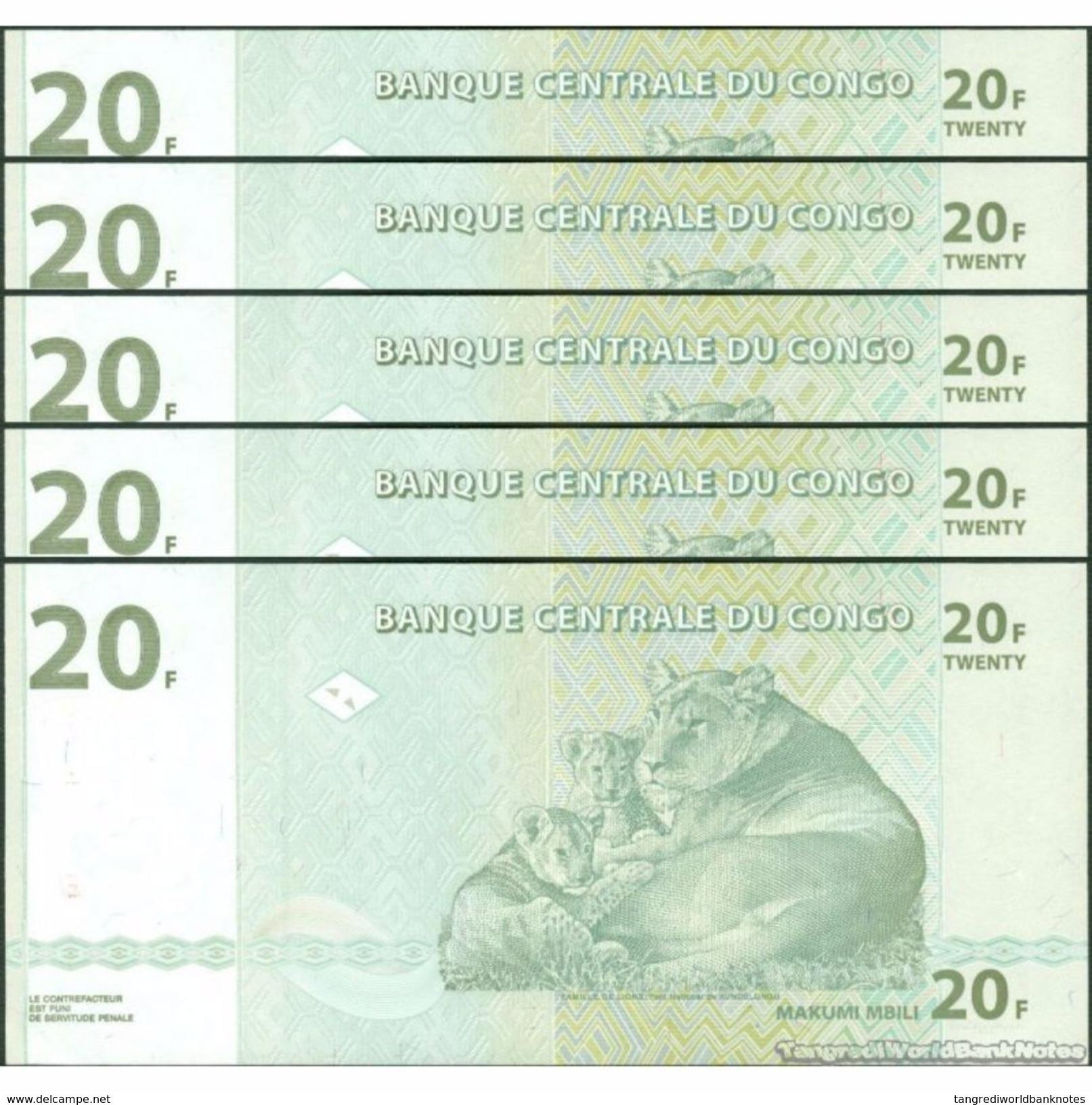 TWN - CONGO DEM. REP. 94 - 20 Francs 30.6.2003 DEALERS LOT X 5 JA-E (HdM) UNC - Democratic Republic Of The Congo & Zaire