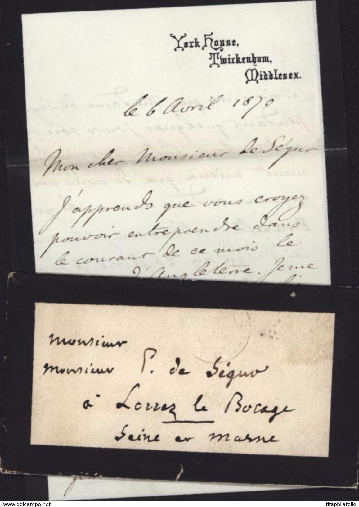 Autographe Louis Philippe Albert D'Orléans Prince Royale Comte De Paris Guerre Sécession Anti Esclavagiste Ecrivain - Autographes