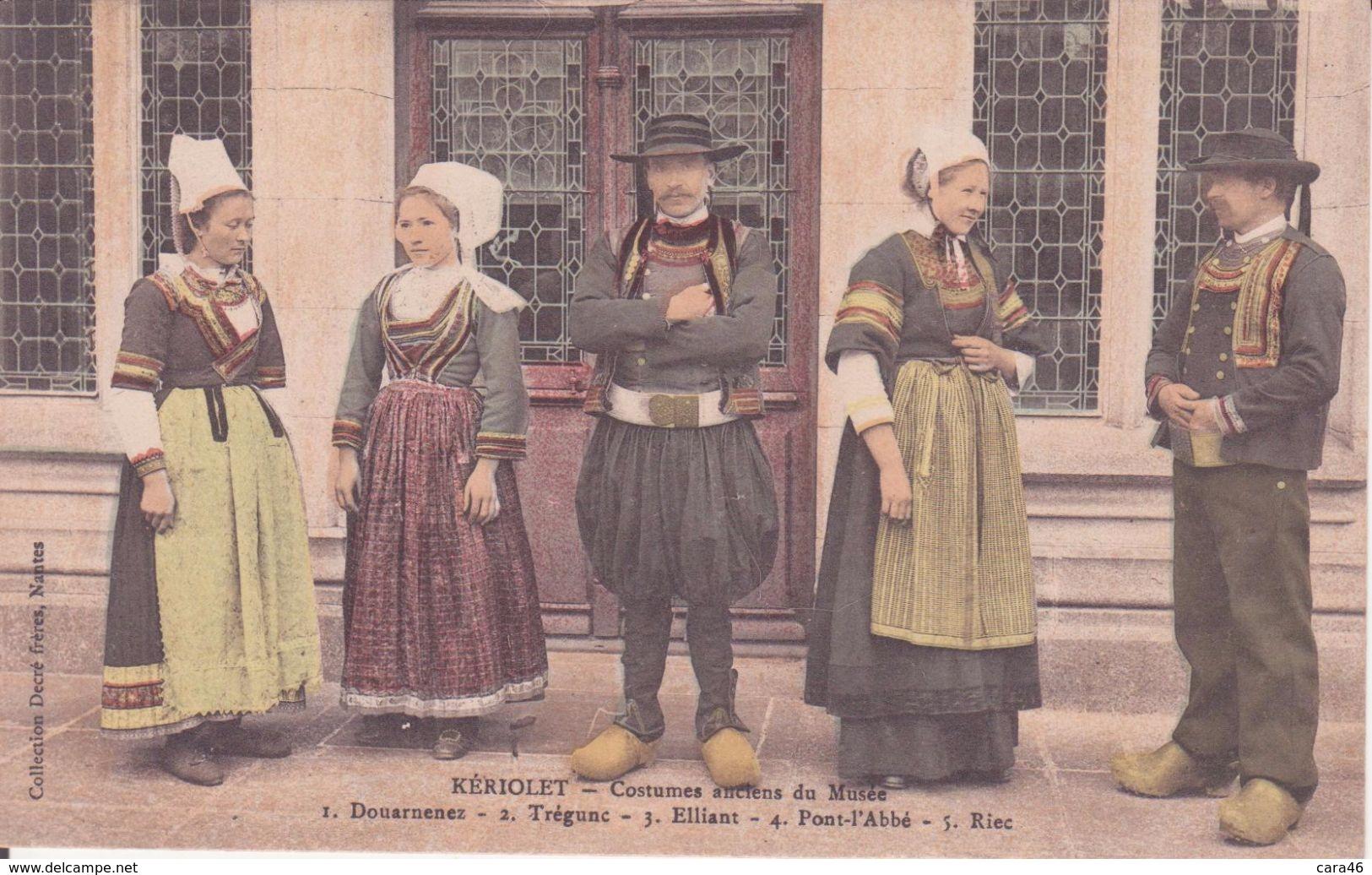 CPA -  KERIOLET -  Costumes Anciens : 1. Douarnenez, 2. Trégunc,3. Elliant, 4. Pont L'abbé 5. Riec.............. - Autres Communes