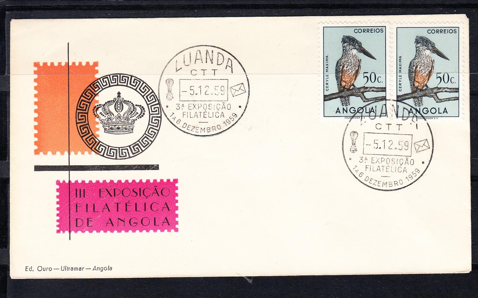 ANGOLA 1959. KINGFISHER GIGANTE  FDC SOBRE 1er. DIA   CECI 1 Nº 386 - Águilas & Aves De Presa