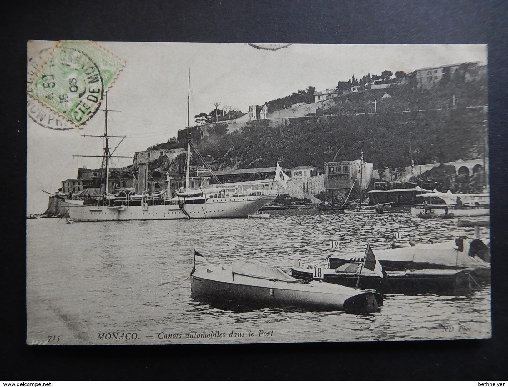 CPA - 1905 - RARE- MONACO - CANOTS AUTOMOBILES DANS LE PORT - BATEAU - R8705 - Harbor