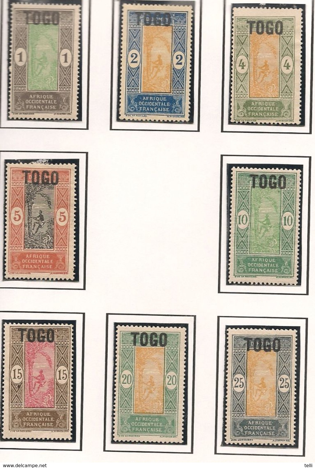 TOGO Scott 193-209  Yvert 101-113, 115-118 (17) * Cote 27$ - Togo (1914-1960)