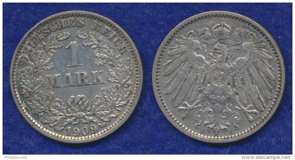 Deutsches Reich 1 Mark 1909E Großer Reichsadler Ag900 - [ 2] 1871-1918 : German Empire