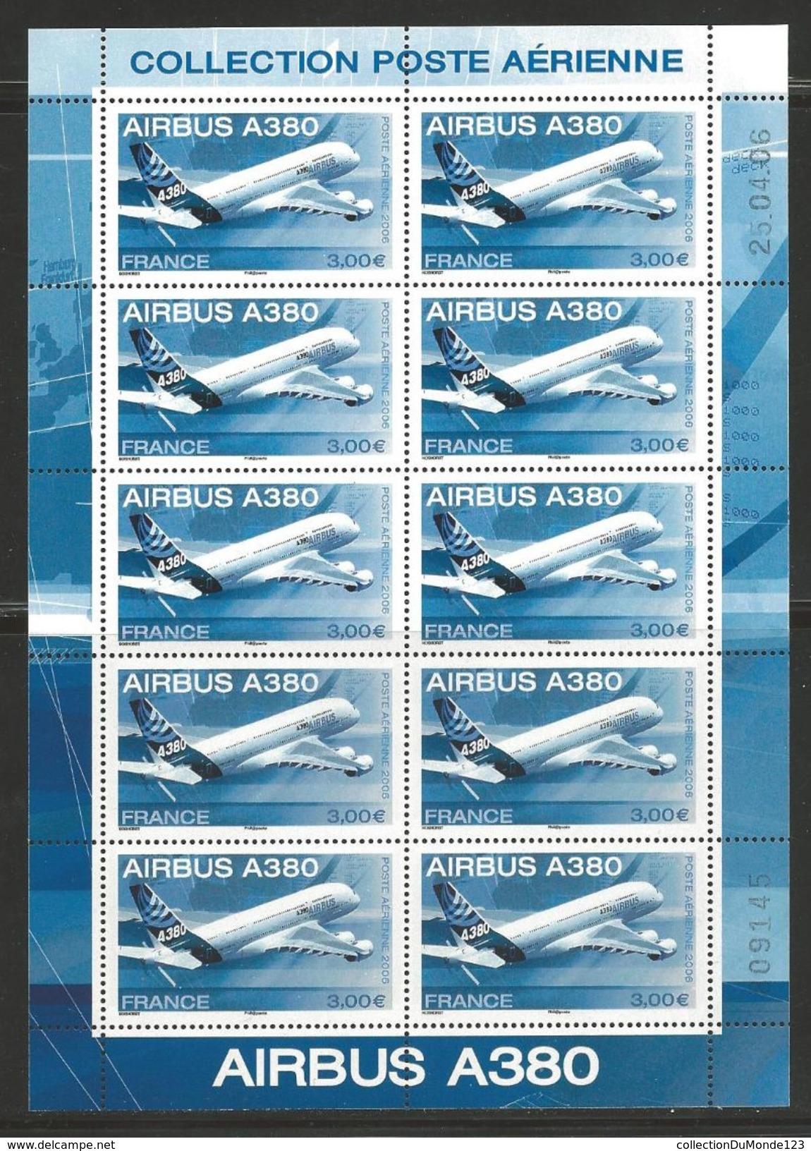 FRANCE 2006 Timbre Aérien 69, Bloc De 10 -- AVION AIRBUS A380, AERIENNE, NEUF AIRMAIL - Poste Aérienne