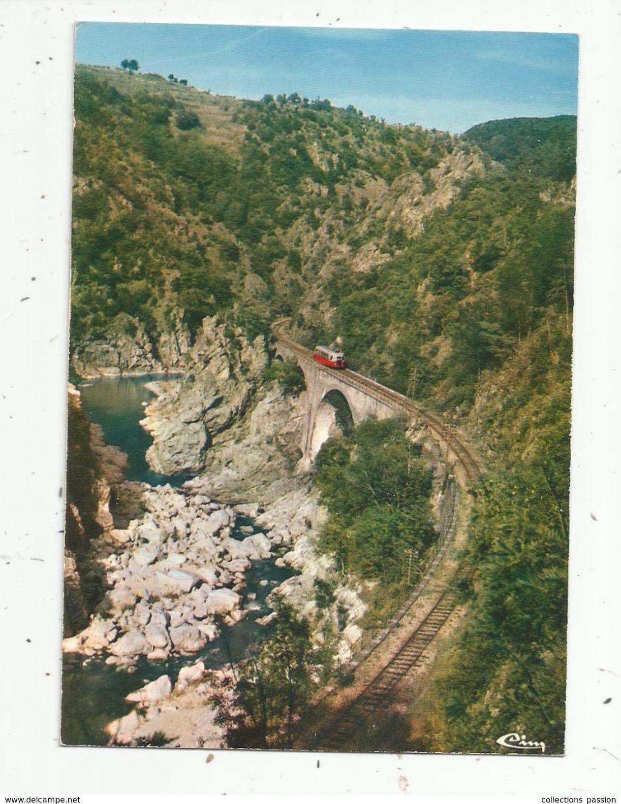 Cp , Chemin De Fer , Train , Le MASTROU Dansles Gorges , 07 ,Ardéche , TOURNON-LAMASTRE, Voyagée 1976 - Trenes