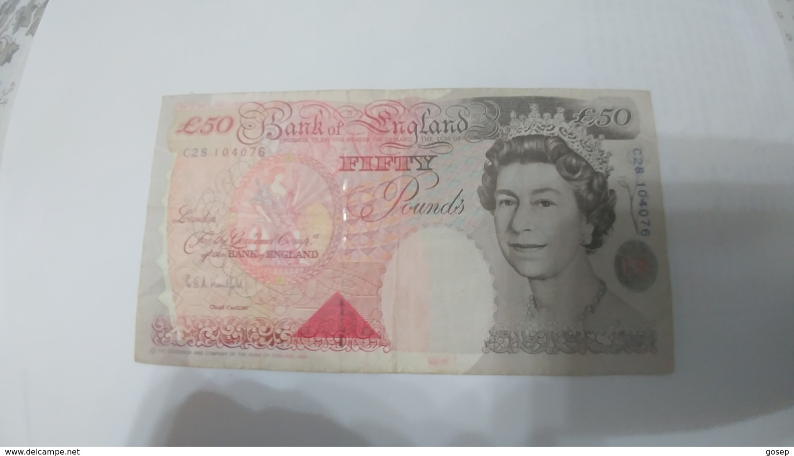 United Kingdom-(50 Pounds)(number Note-C28 104076)-very Good+1bank Note Other Country Free - 1952-… : Elizabeth II