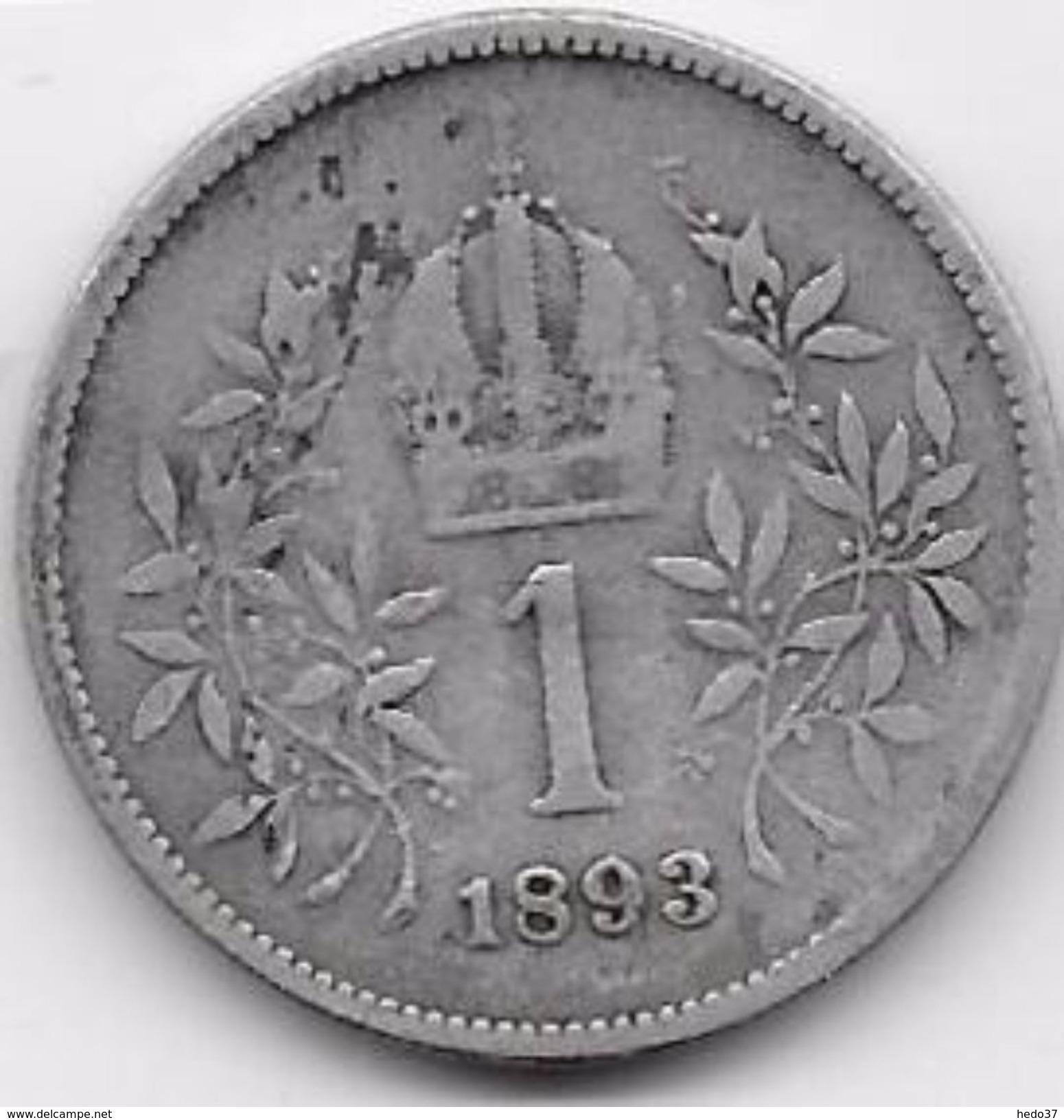 Autriche - 1 Corona - 1893 - Argent - Autriche