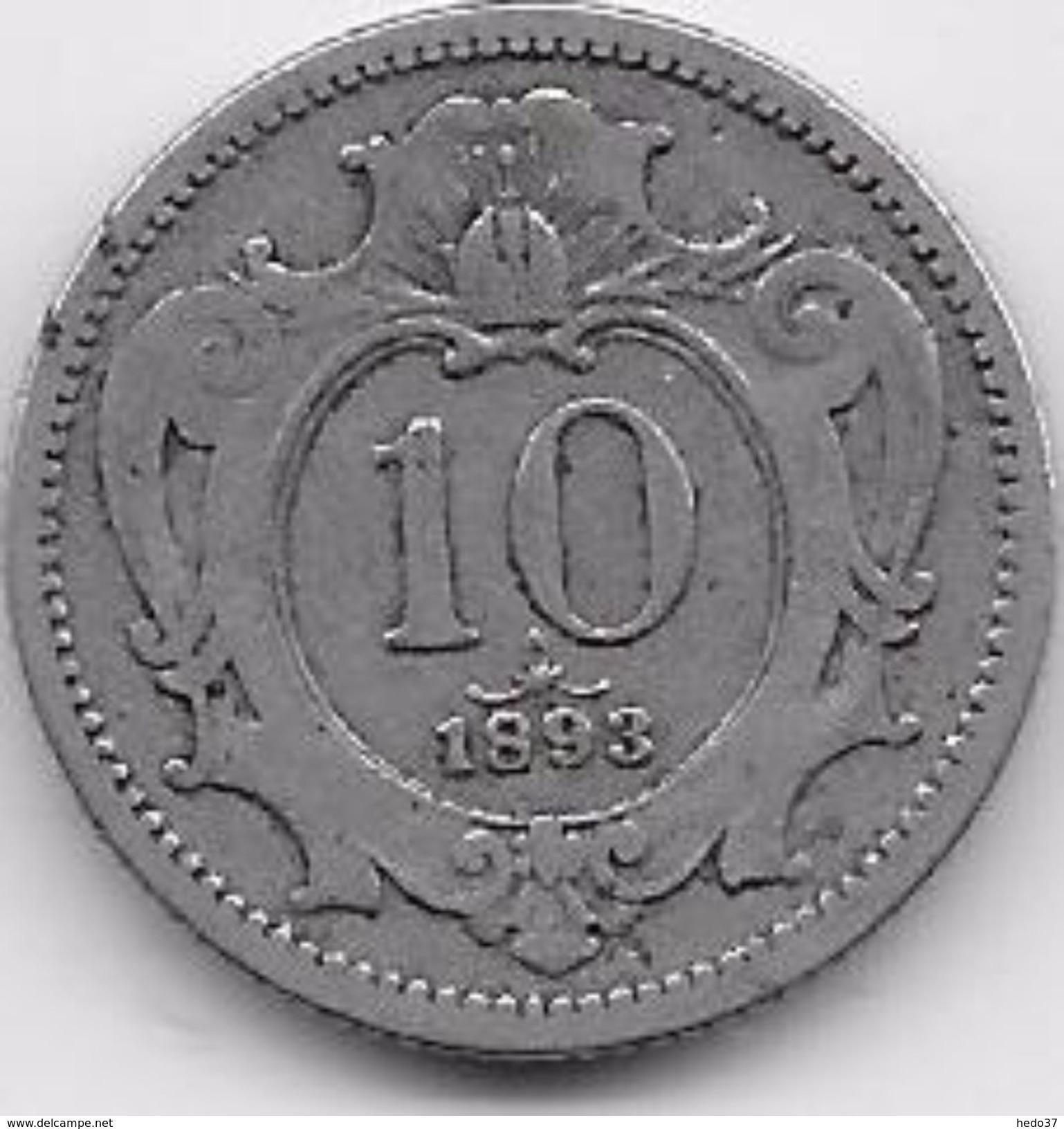 Autriche - 10 Heller - 1893 - Autriche