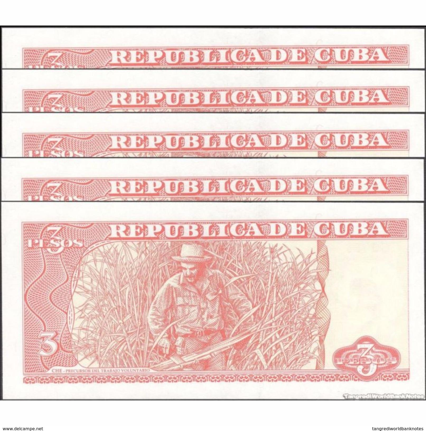 TWN - CUBA 127a - 3 Pesos 2004 DEALERS LOT X 5 FA-04 UNC - Cuba