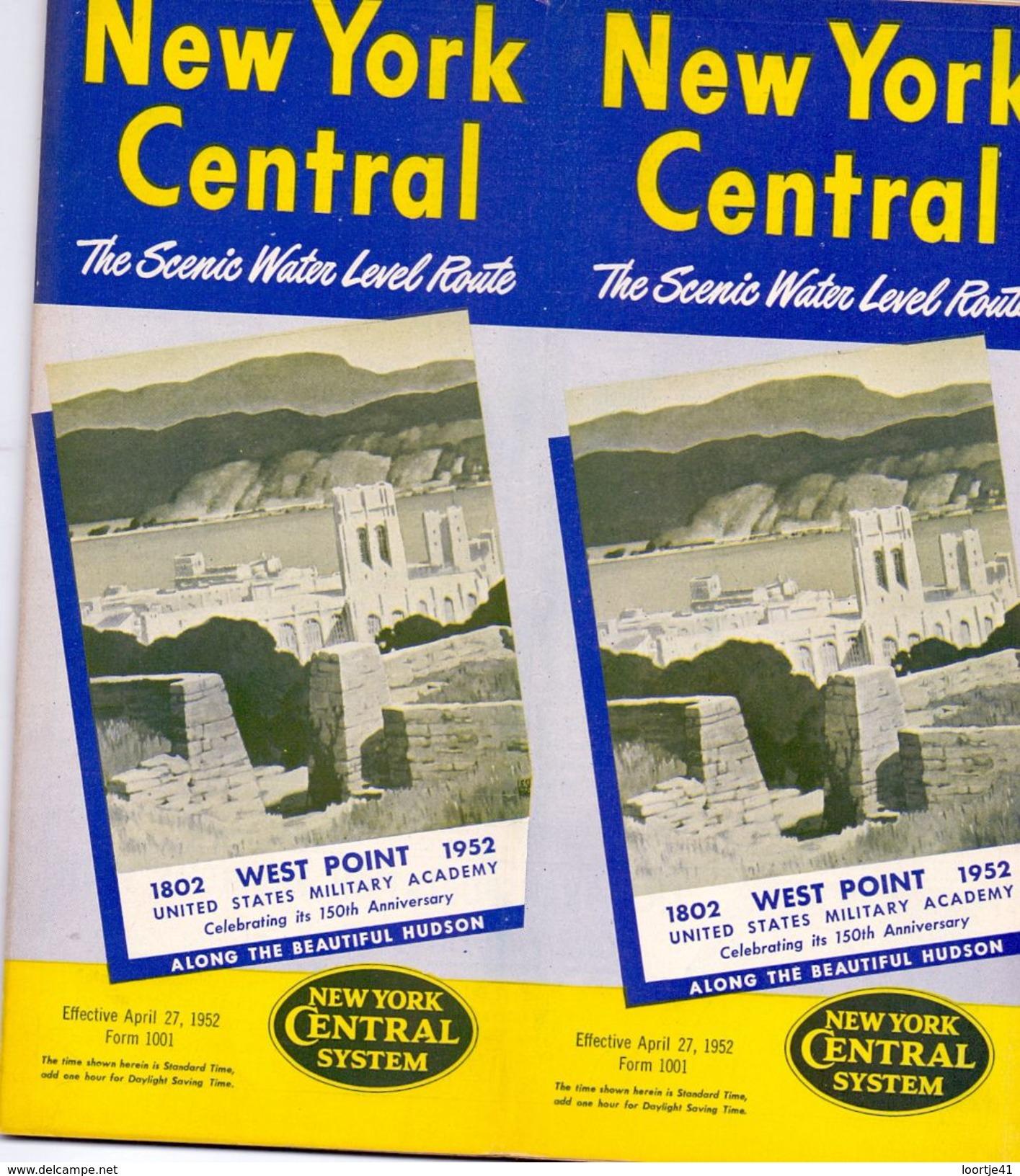 Tourisme - Timetables Schedules Dienstregeling  - Trains Treinen New York Central System - West Point 1952 - World