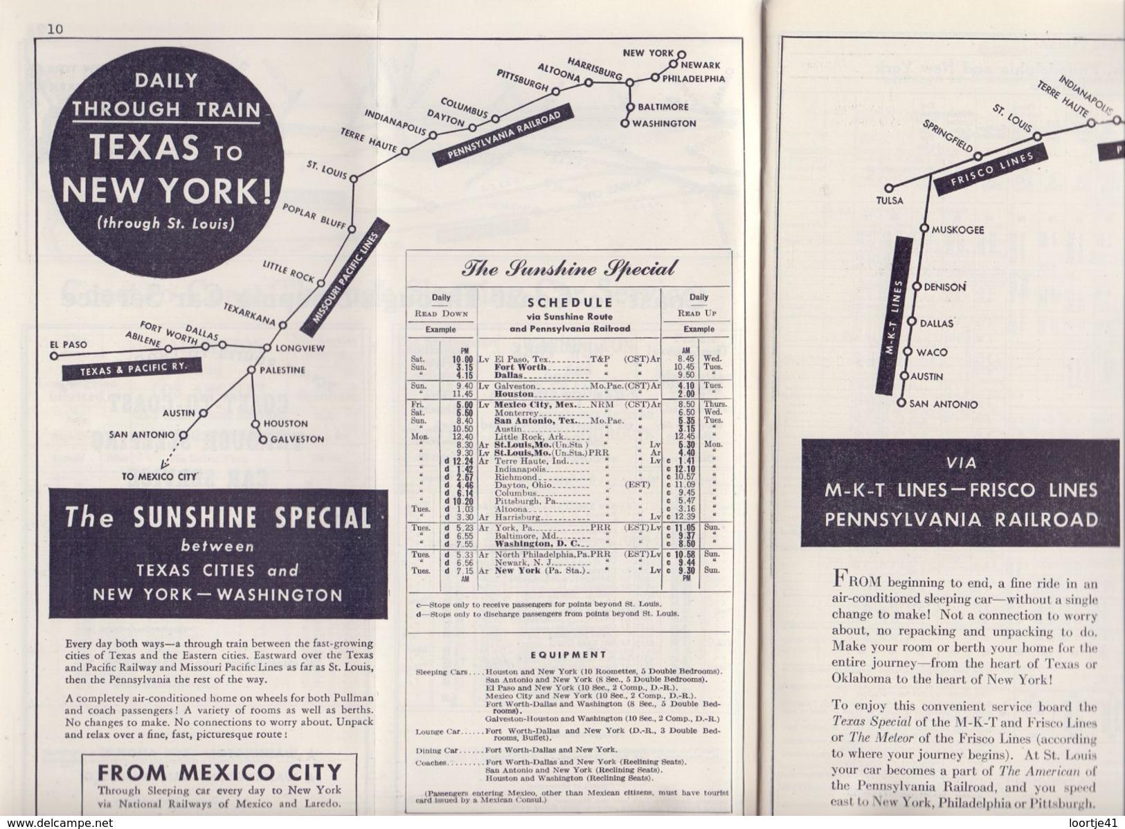 Tourisme - Timetables Schedules Dienstregeling  - Trains Treinen Pennsylvania Railroad 1947 - World