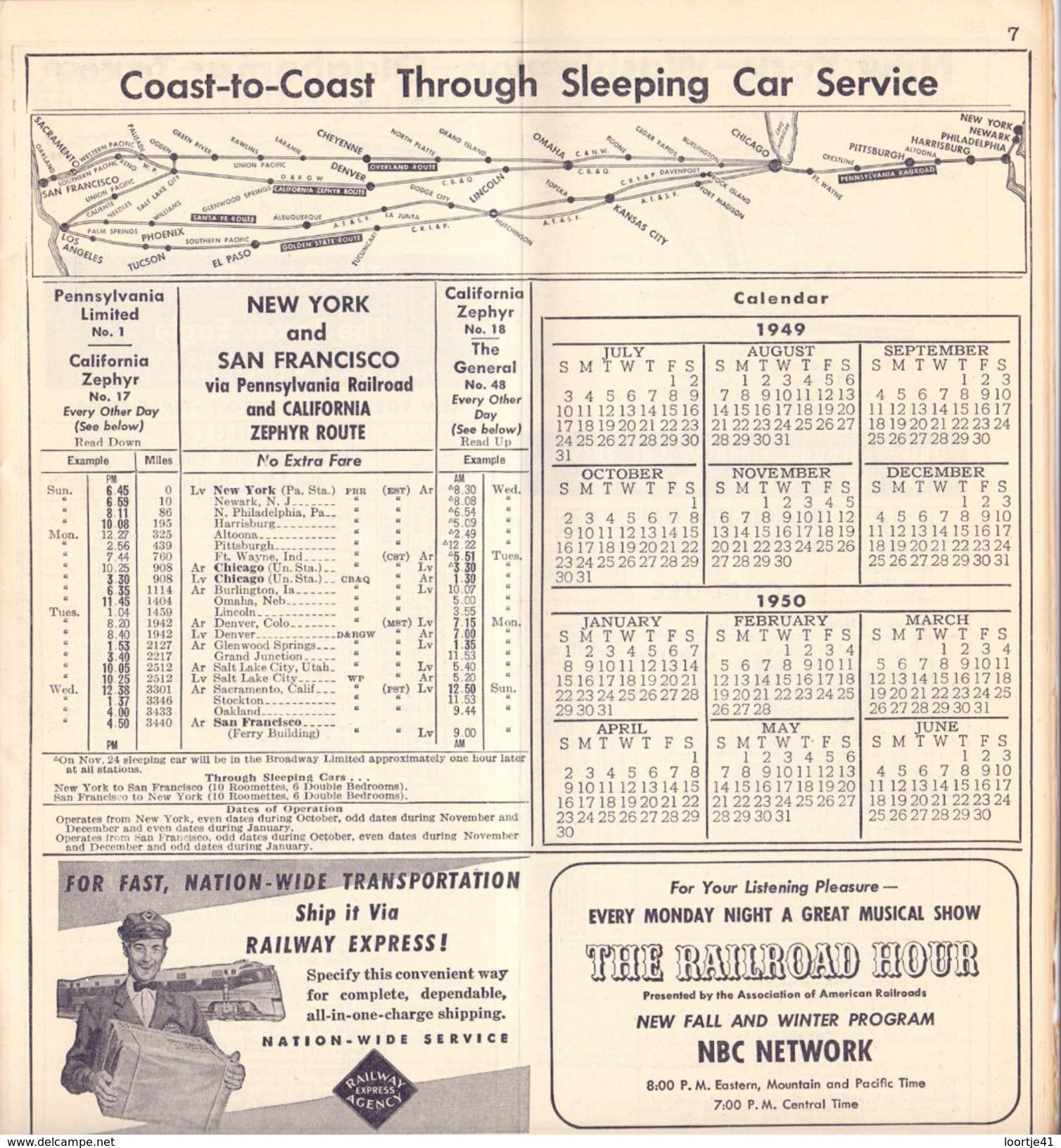 Tourisme - Timetables Schedules Dienstregeling  - Trains Treinen Pennsylvania Railroad Time Tables 1949 - World