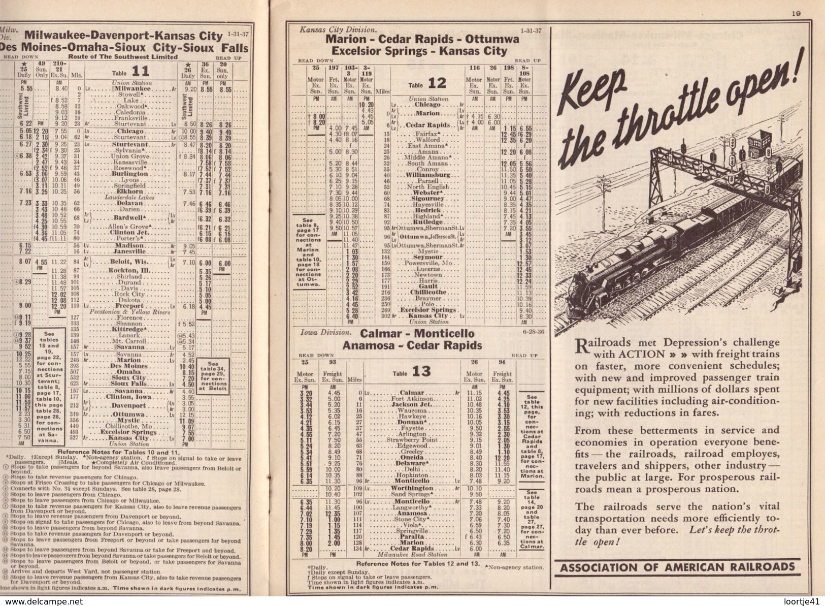 Tourisme - Timetables Schedules Dienstregeling  - Trains Treinen Milwaukee Road - The Hiawatha Time Tables 1937 - World