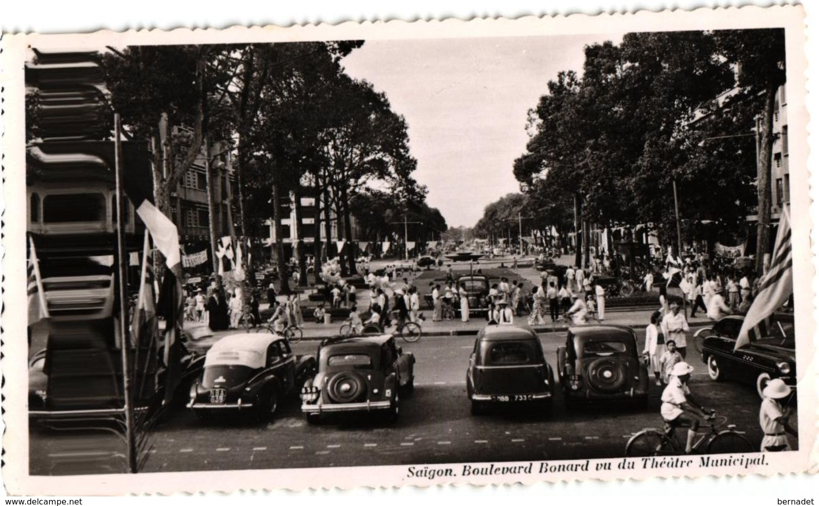 INDOCHINE .. SAIGON ..BOULEVARD BONARD .. CITROEN TRACTION AVANT..CACHET UNITE MARINE .. PEUGEOT 203 ... 1952 - Viêt-Nam