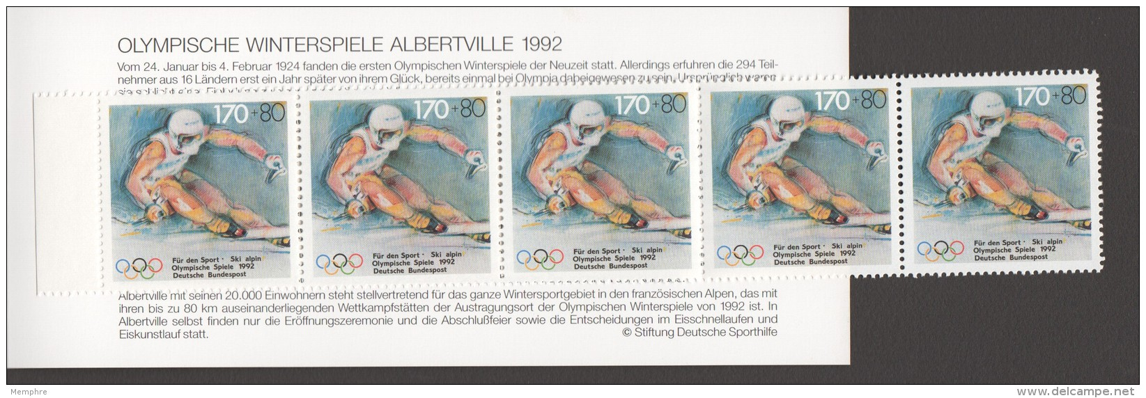 1992  Olympia-Markenheftchen  Ski Alpin - Slalom   MiNr 1595 X5 Postfrisch - BRD