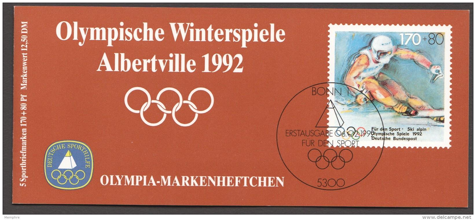 1992  Olympia-Markenheftchen  Ski Alpin - Slalom   MiNr 1595 X5 Postfrisch - Markenheftchen