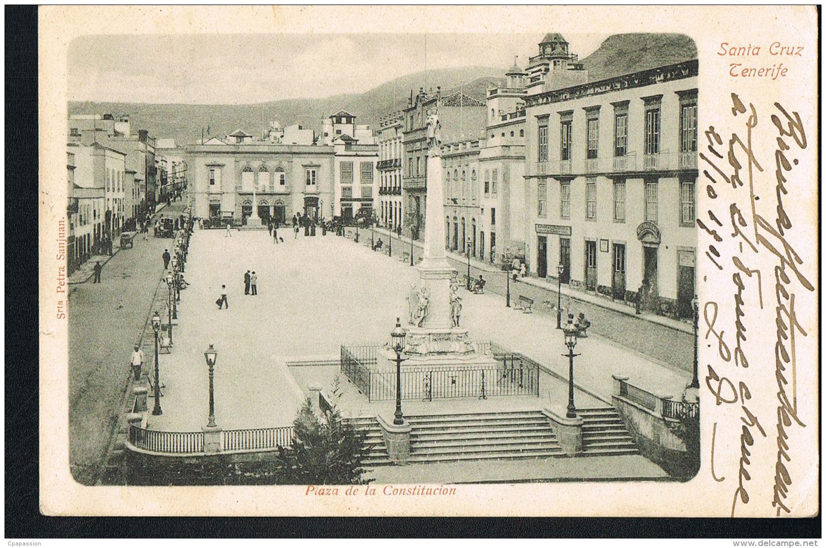 SANTA CRUZ - TENERIFE - CANARIAS _ Plaza De La Constitucion-  Voyagée -Recto Verso - Paypal Free - Tenerife