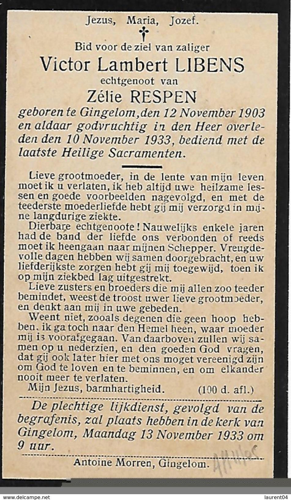 GINGELOM.   VICTOR LIBENS 1903 - 1933 - Gingelom