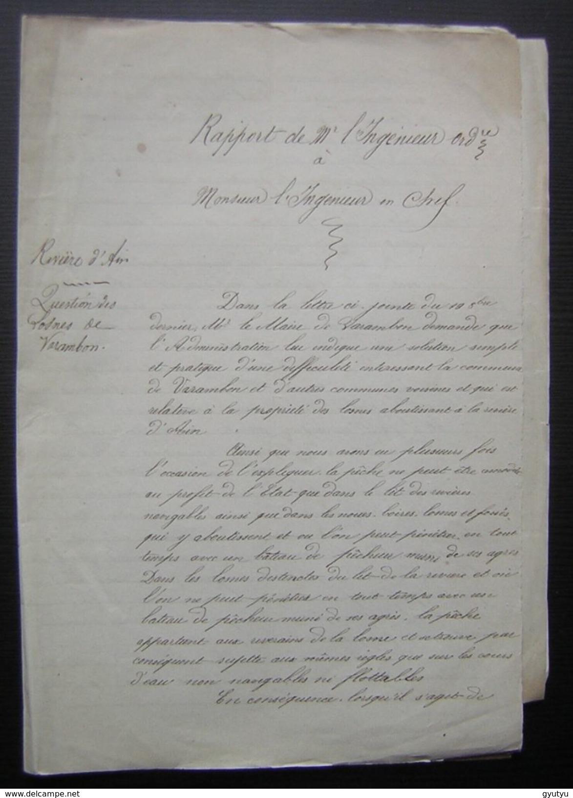1864 Varambon (Ain) Rapport De L'ingénieur Sur La Rivière D'Ain, Avec Deux Plans - Manuscripts