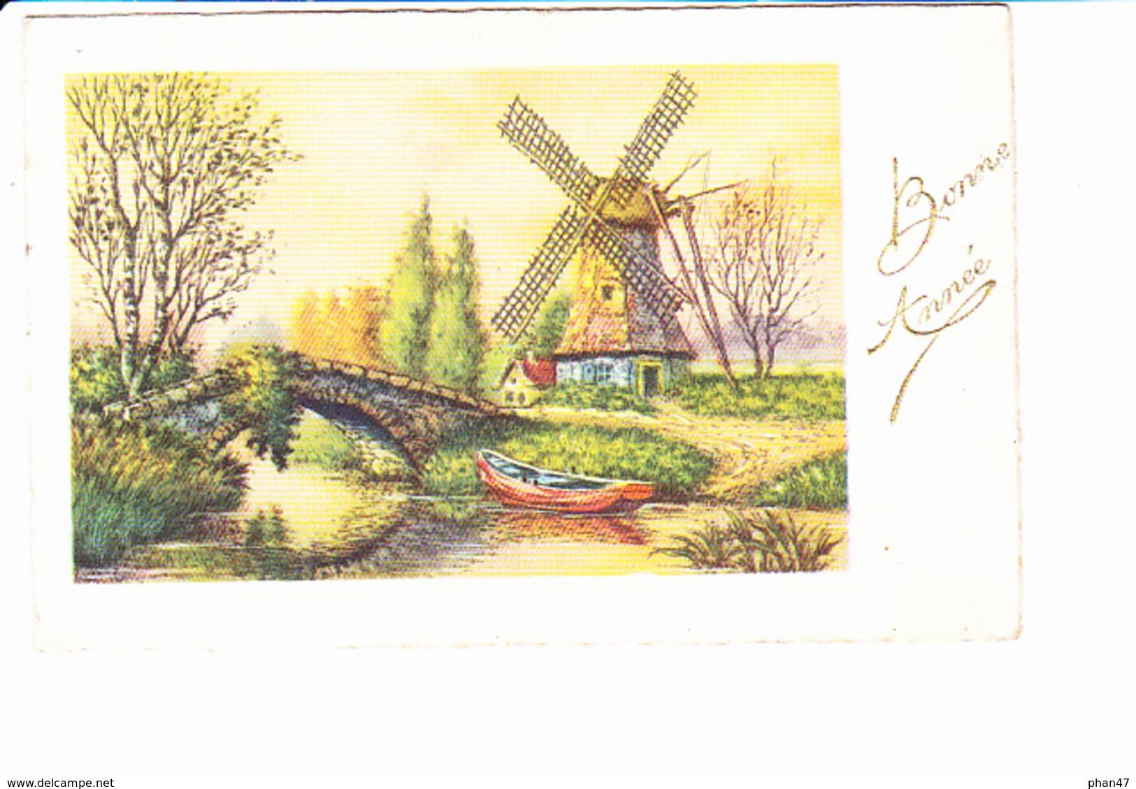 BONNE ANNEE, Moulin à Vent, Barque, Pont De Pierre, Ed. Super 1940 Environ - Nouvel An
