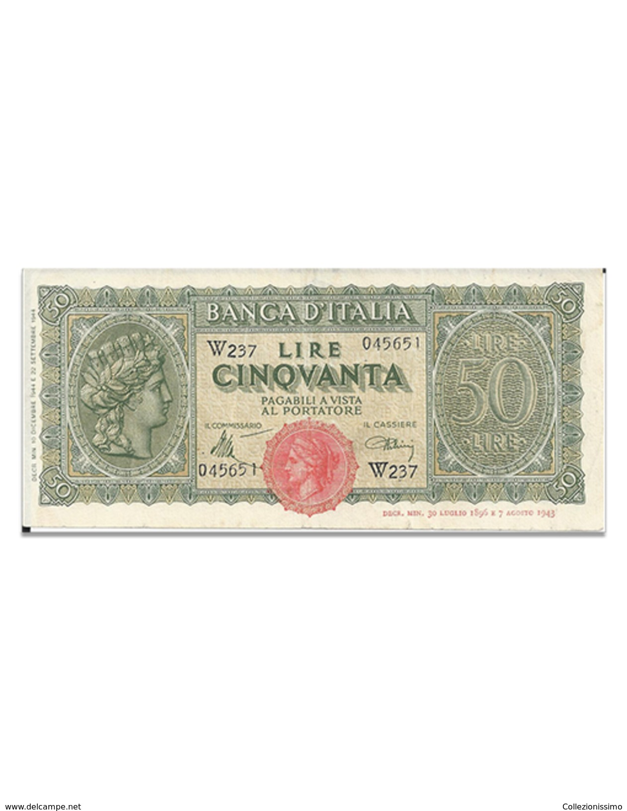50 Lire - 1944  Italia Turrita - 50 Lire