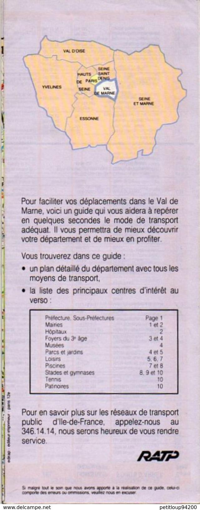 PLAN RATP Ticket Service  VAL DE MARNE EN 2e VOITURE - Europe