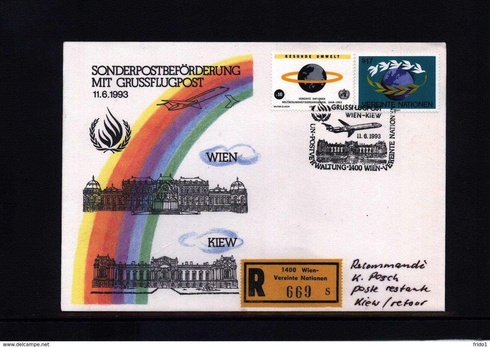UNO Wien 1993 Sonderflugpost Wien-Kiew - Wien - Internationales Zentrum