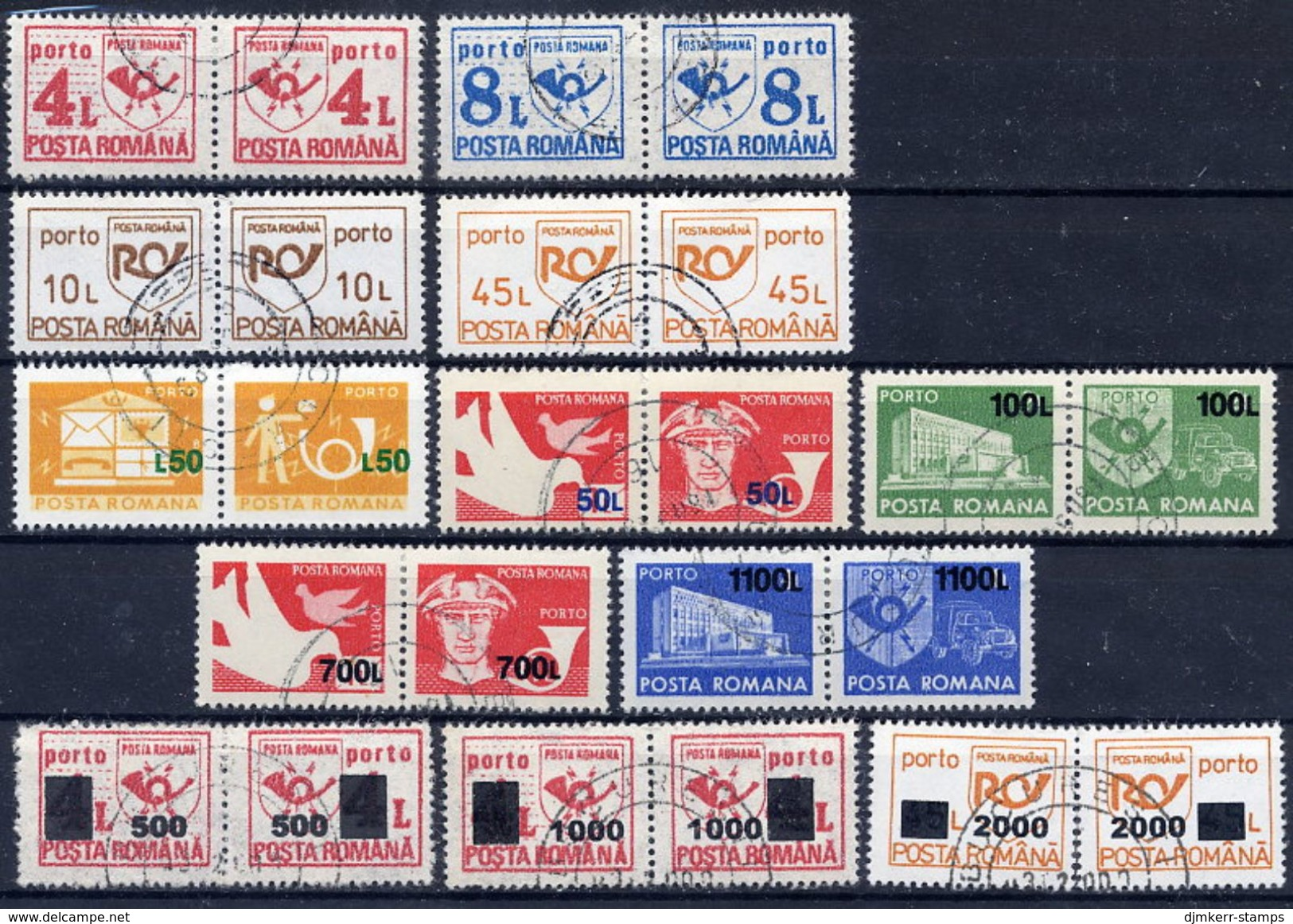 ROMANIA 1957-2001 Postage Due Issues Complete Used.  Michel Porto 101-142 (3 Scans) - Postage Due