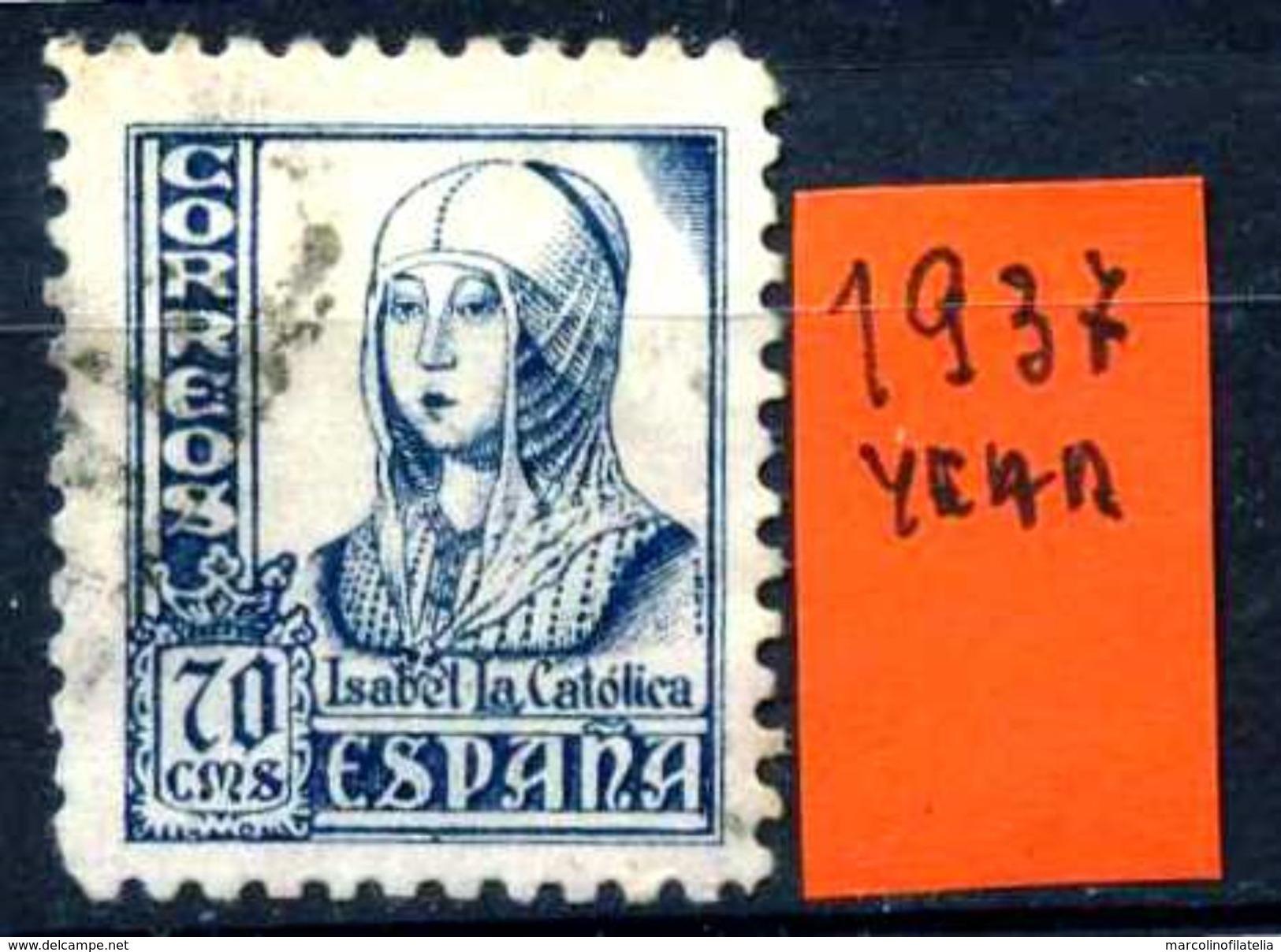 SPAGNA - Year 1937 - Usato - Used - Utilisè - Gebraucht. - 1931-Oggi: 2. Rep. - ... Juan Carlos I