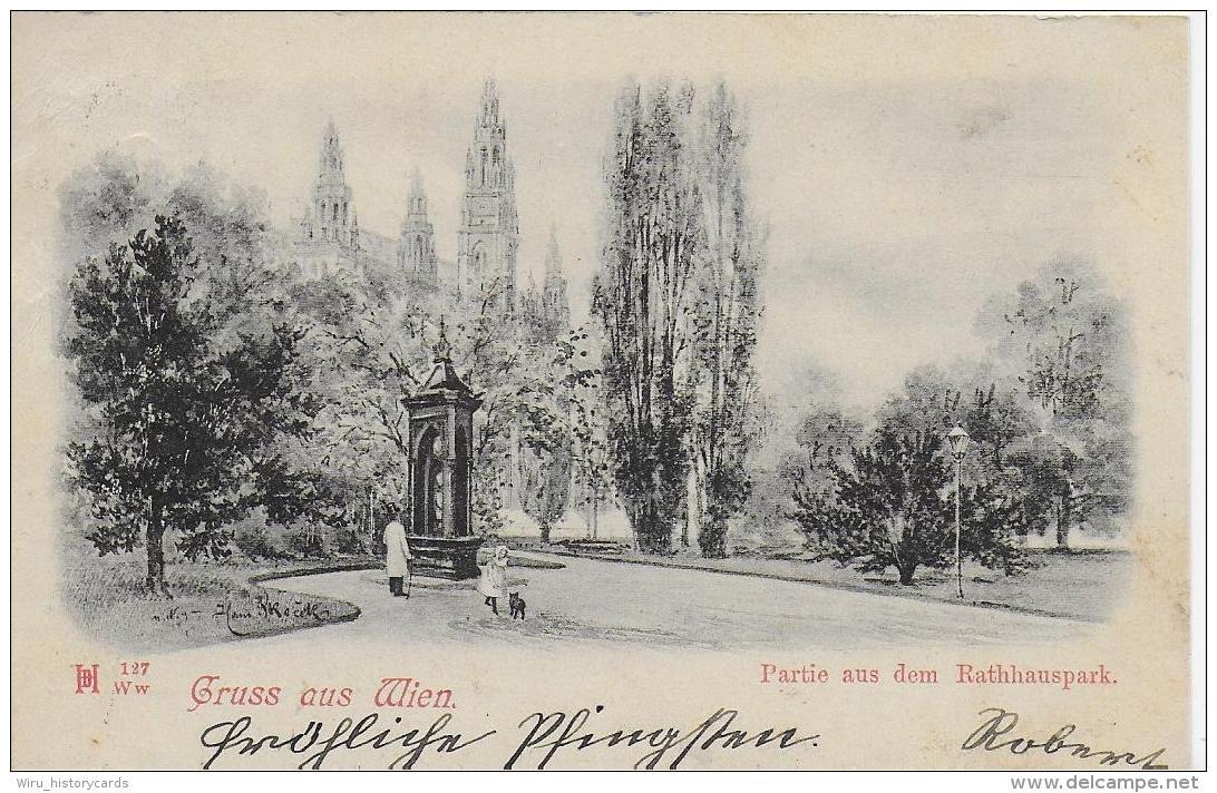 AK 0796  Gruss Aus Wien - Partie Aus Dem Rathhauspark Um 1899 - Wien Mitte