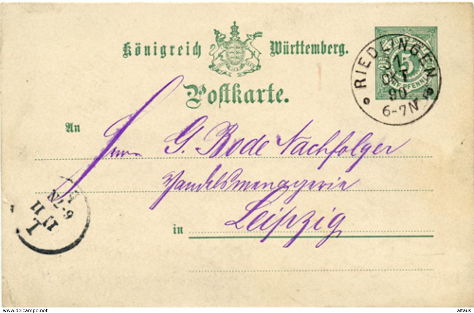 (Lo1220) Altdeutschland Ganzs. Württemberg St. Riedlingen N. Leipzig - Deutschland