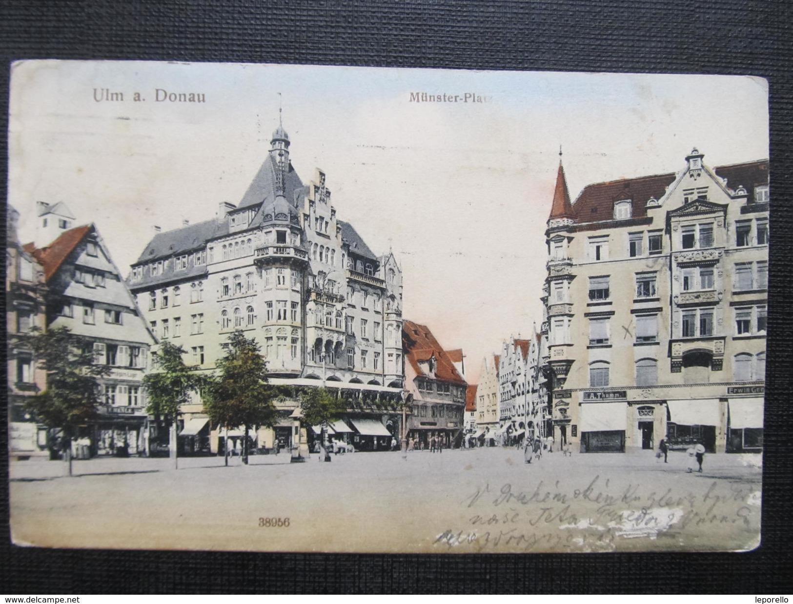 AK ULM A. Donau Münsterplatz 1912// D*28777 - Ulm