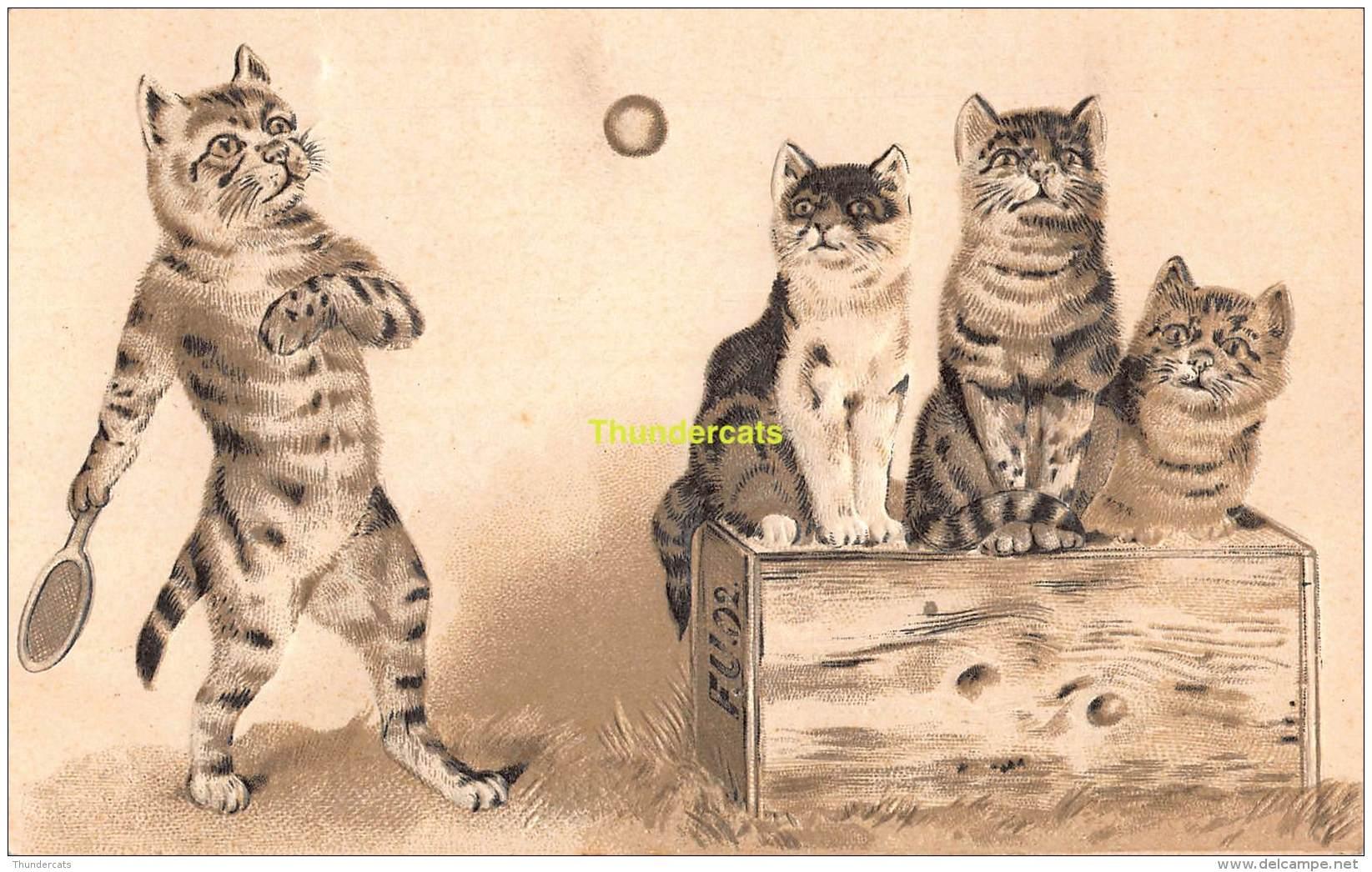 CPA EN RELIEF GAUFREE CHAT CHATS EMBOSSED CARD CAT CATS  OFFERT PAR LA MAISON DANDOIS HUY ROUX NAMUR - Katten