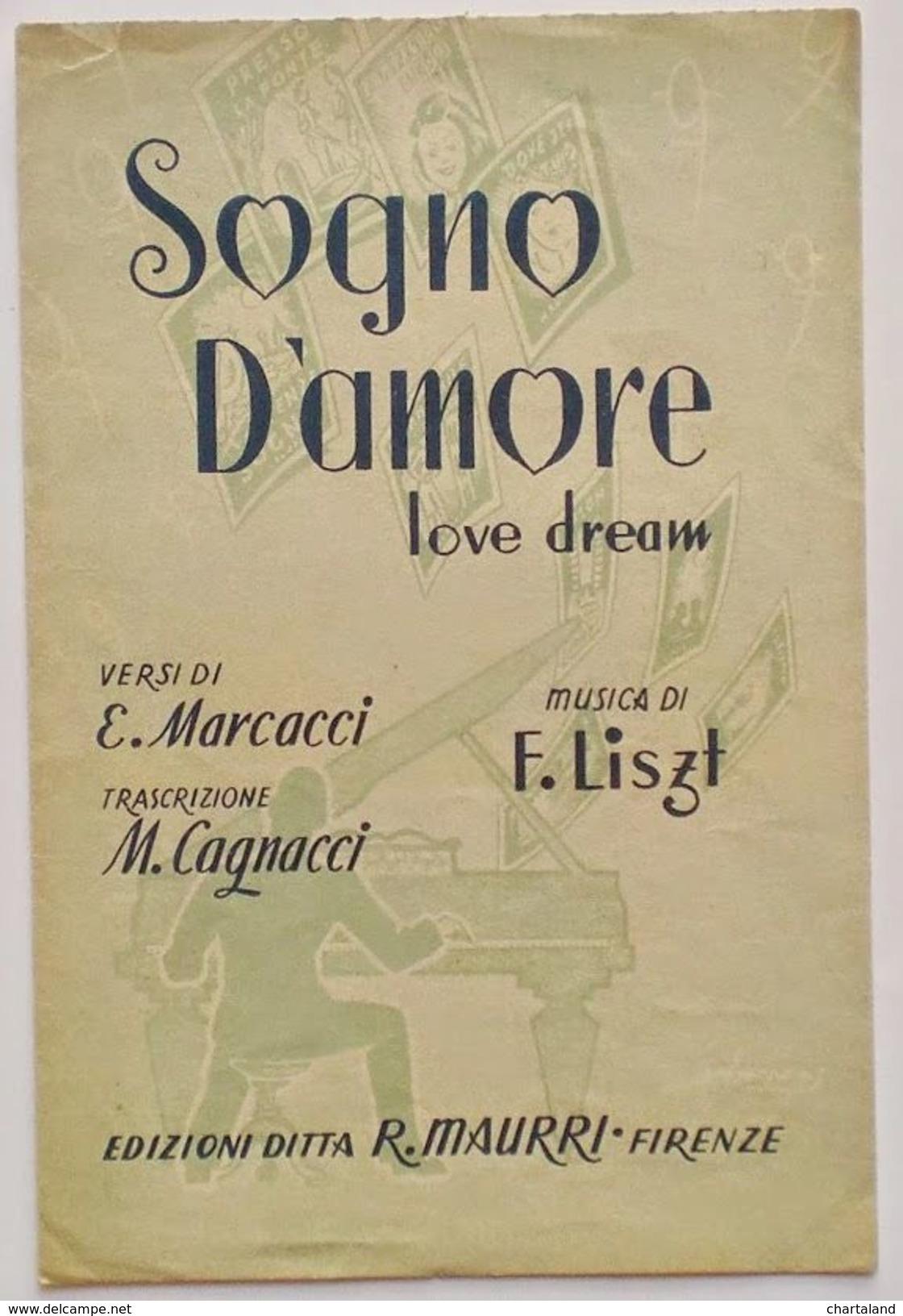 Musica Spartito - Sogno D'amore - Canto, Mandolino O Fisarmonica - 1945 - Vieux Papiers