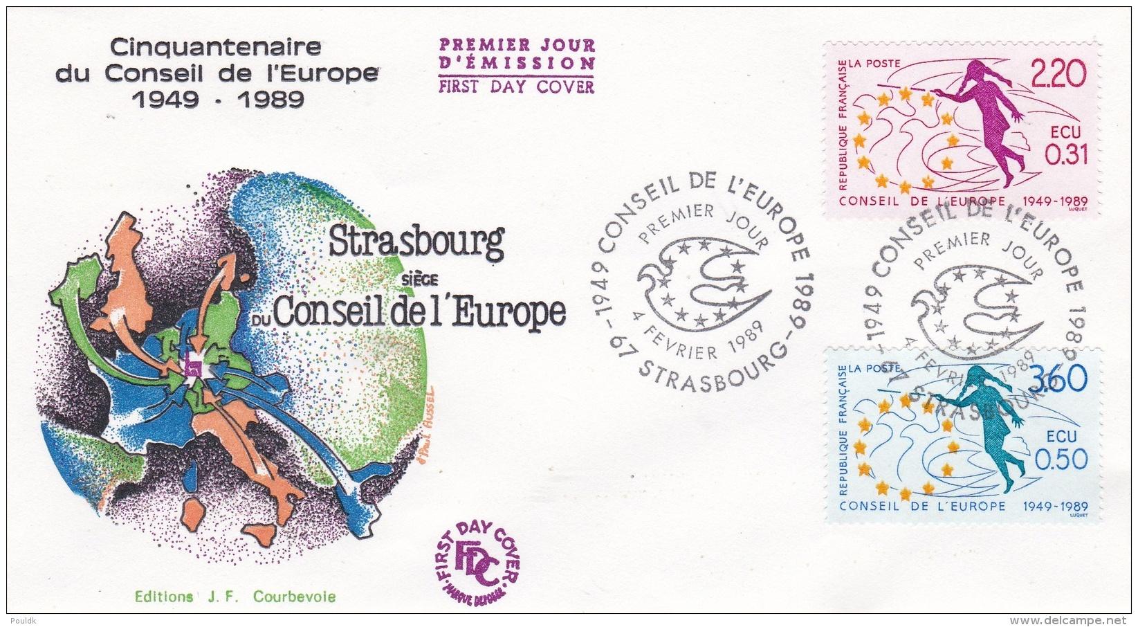 France FDC 1989 Cinquantenaire Du Conceil De L'Europe (DD10-20) - FDC