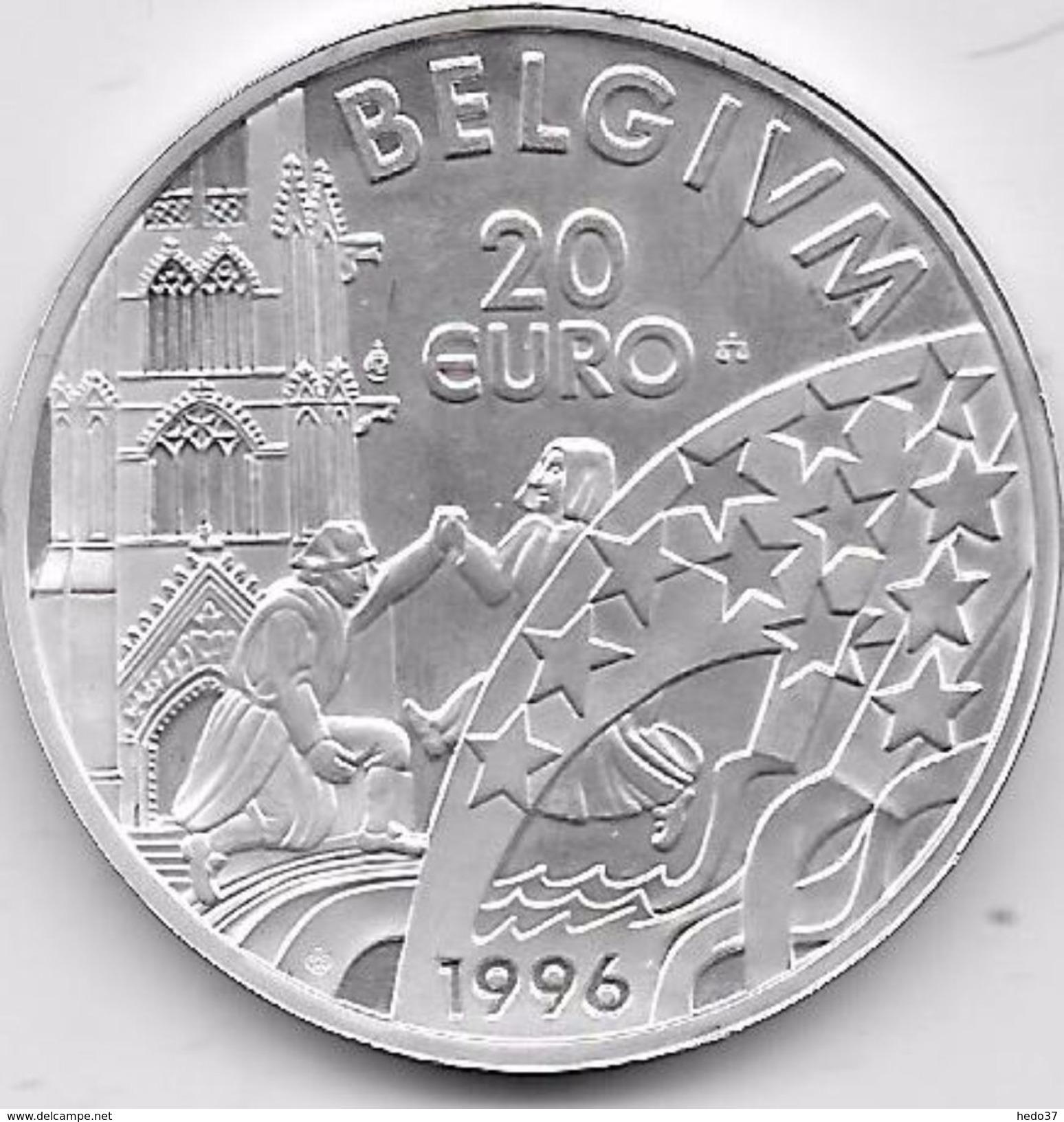 Belgique - 20 Euros 1996 - Argent - Belgique